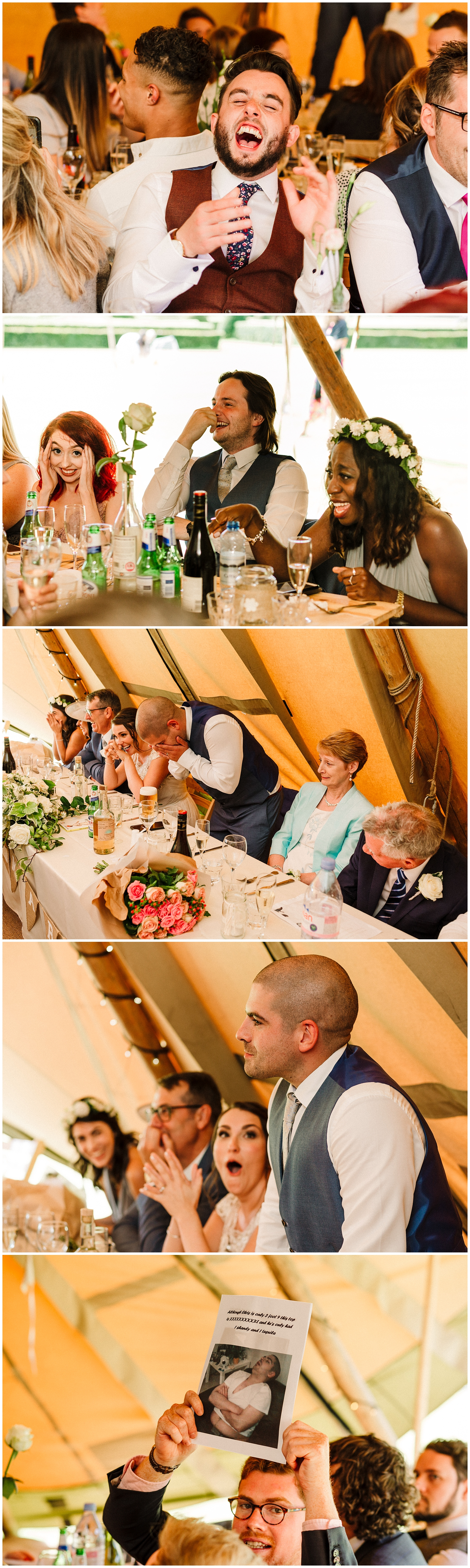 wedding guests laughing at a yorkshire tipi wedding