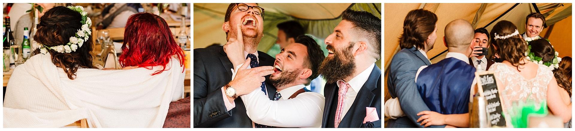 wedding guests at a yorkshire tipi wedding bar events uk