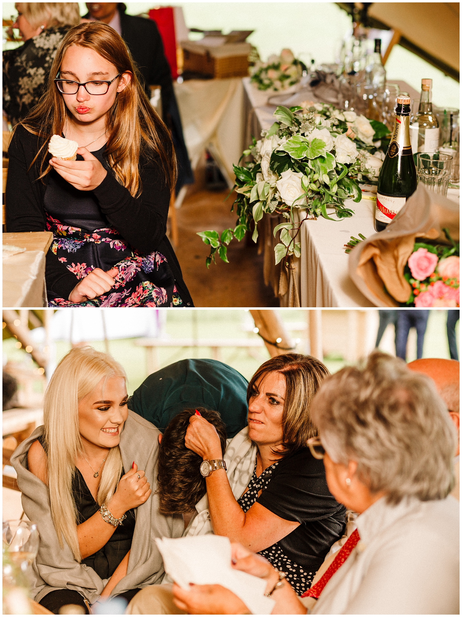 wedding guests pulling funny faces at a yorkshire wedding