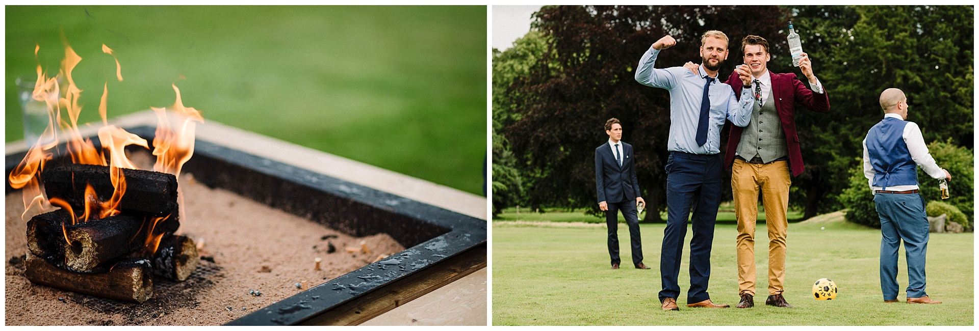 fire pit and wedding guests playing garden games at scampston hall
