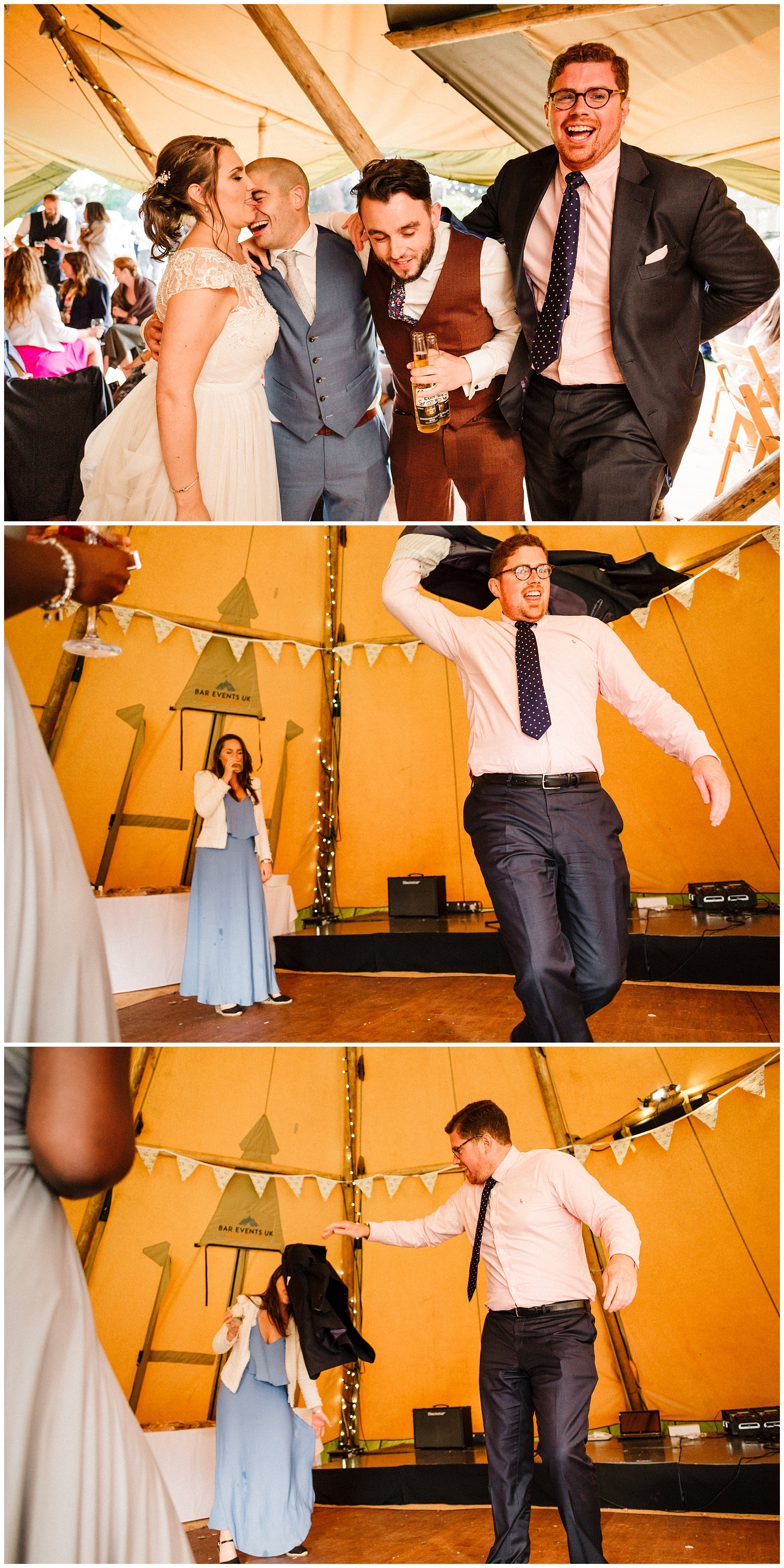 guests in a bar events uk tipi at a wedding in yorkshire