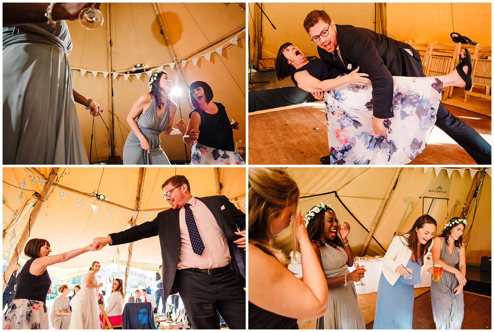 wedding guests dancing and laughing in a tipi at scampston hall