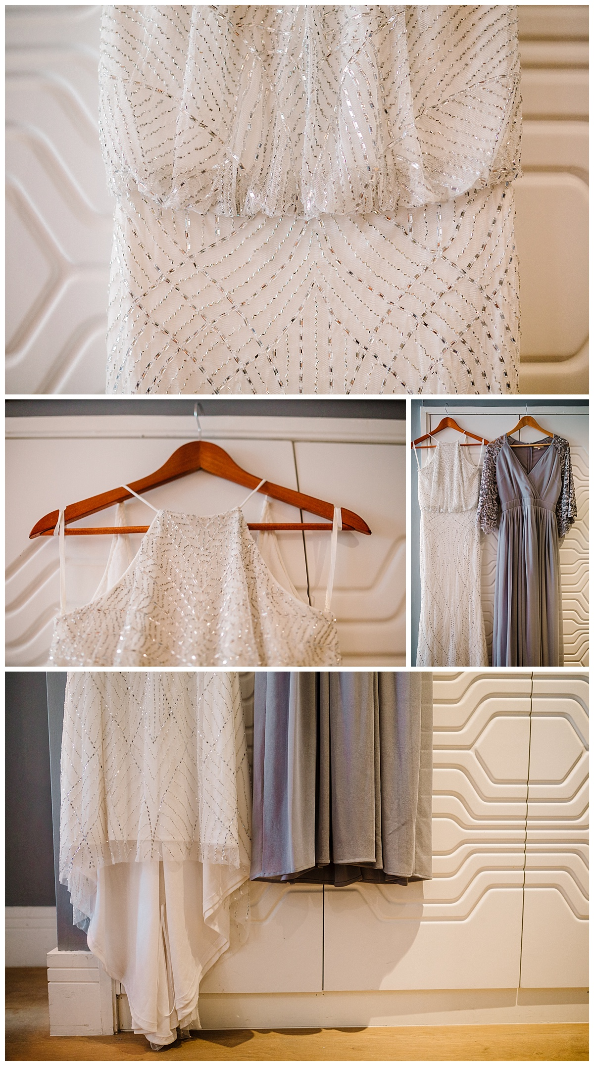 Wedding dress and bridesmaid dress hanging on wardrobe in hotel room