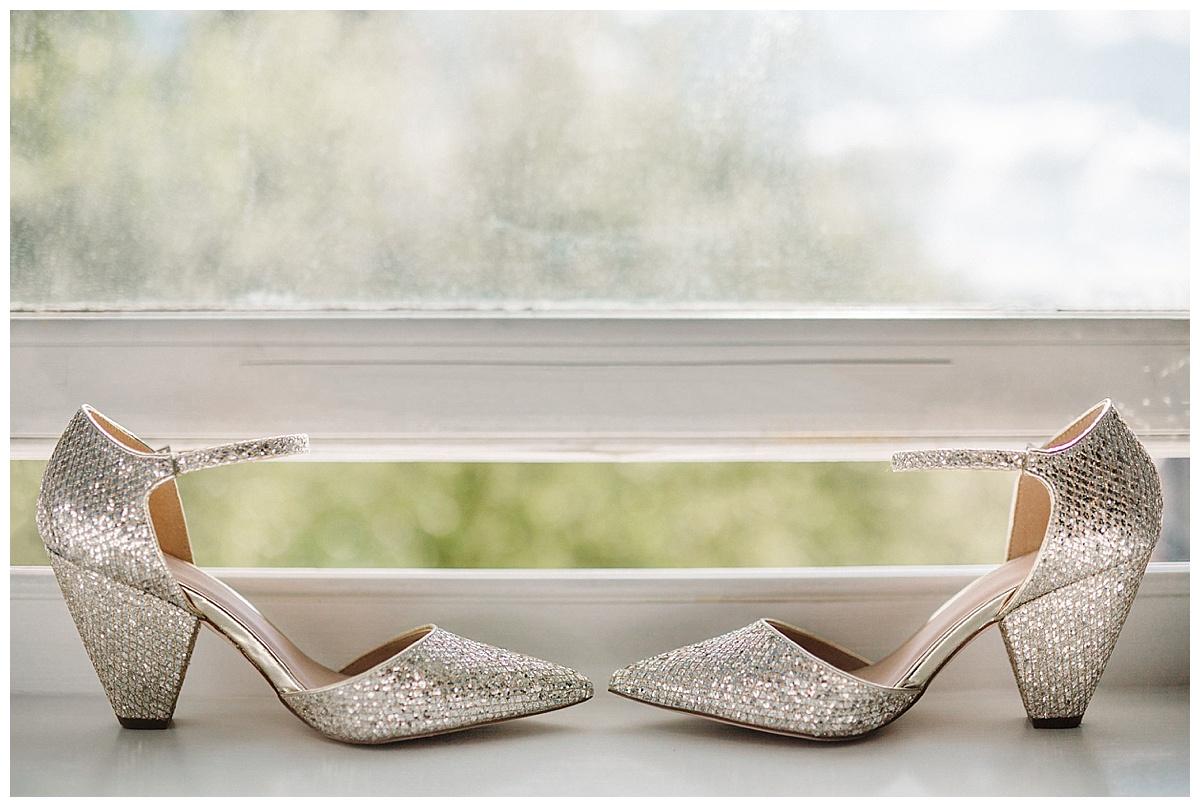 ASOS bridal shoes on a windowsill