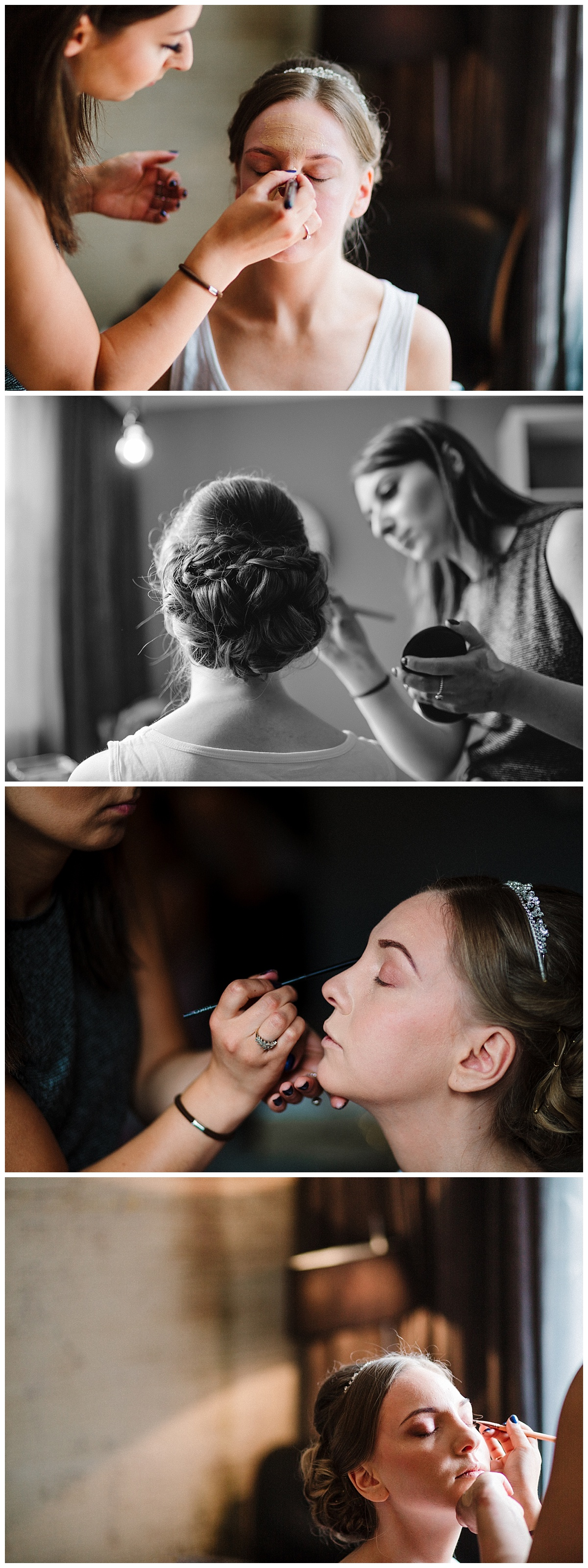 a bride having her makeup done at the malmaison hotel in london