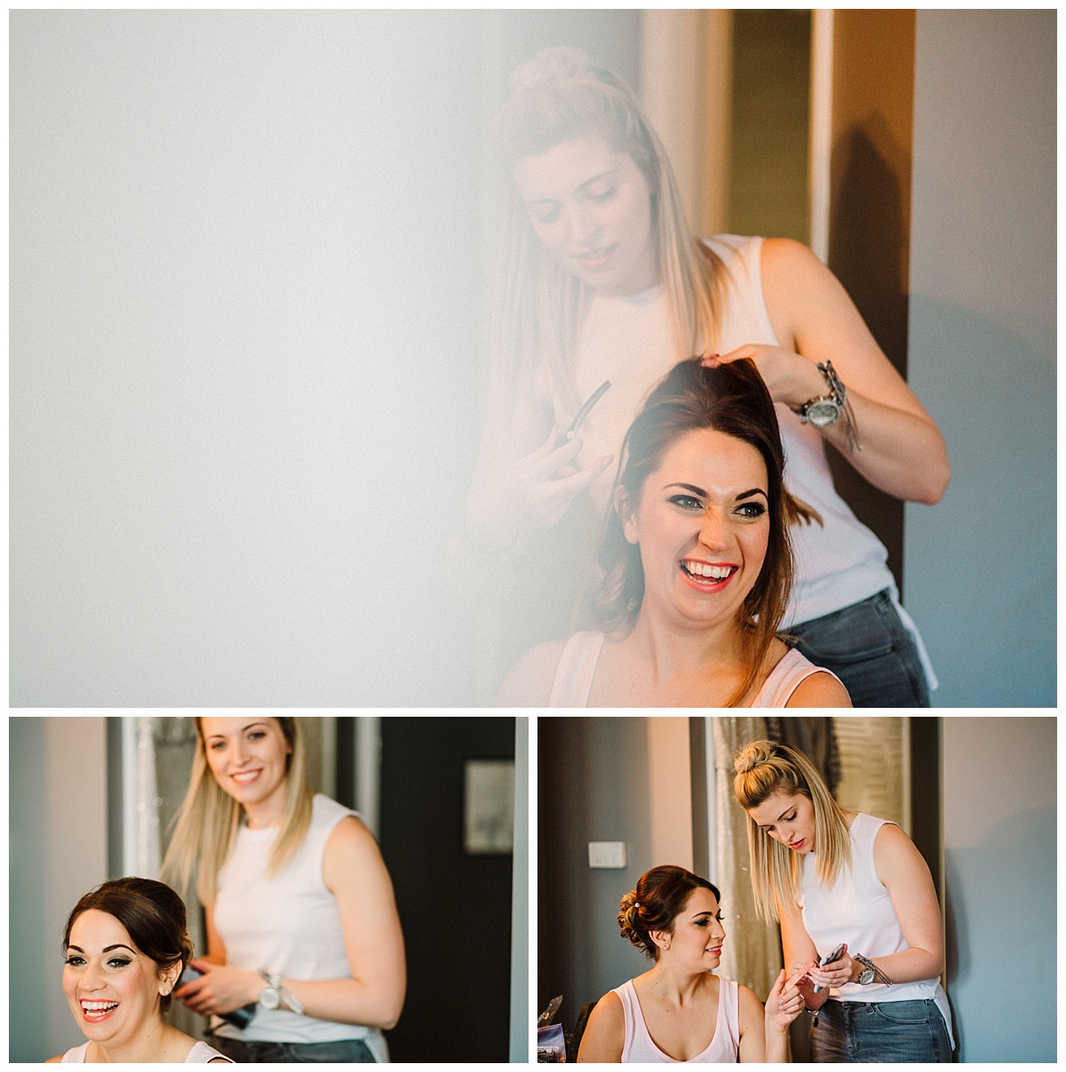 a bridesmaid having her hair done at the malmaison hotel in london