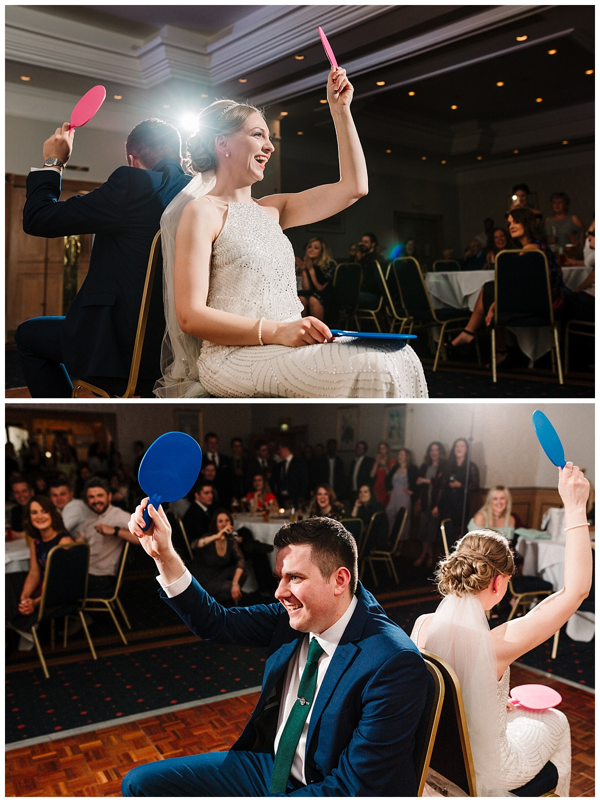 a bride and groom playing mr & mrs