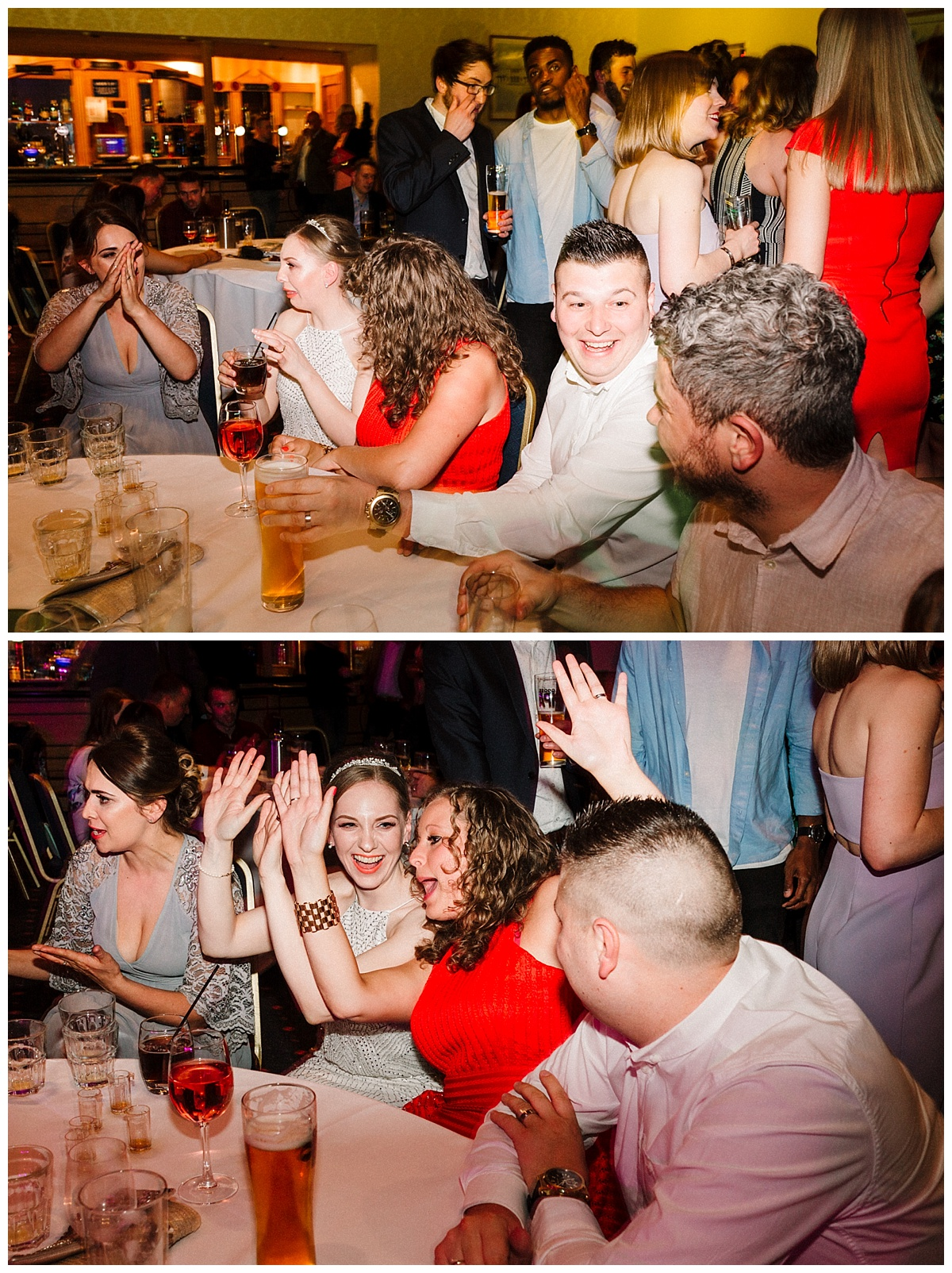 a bride drinking and dancing with friends at a yorkshire wedding