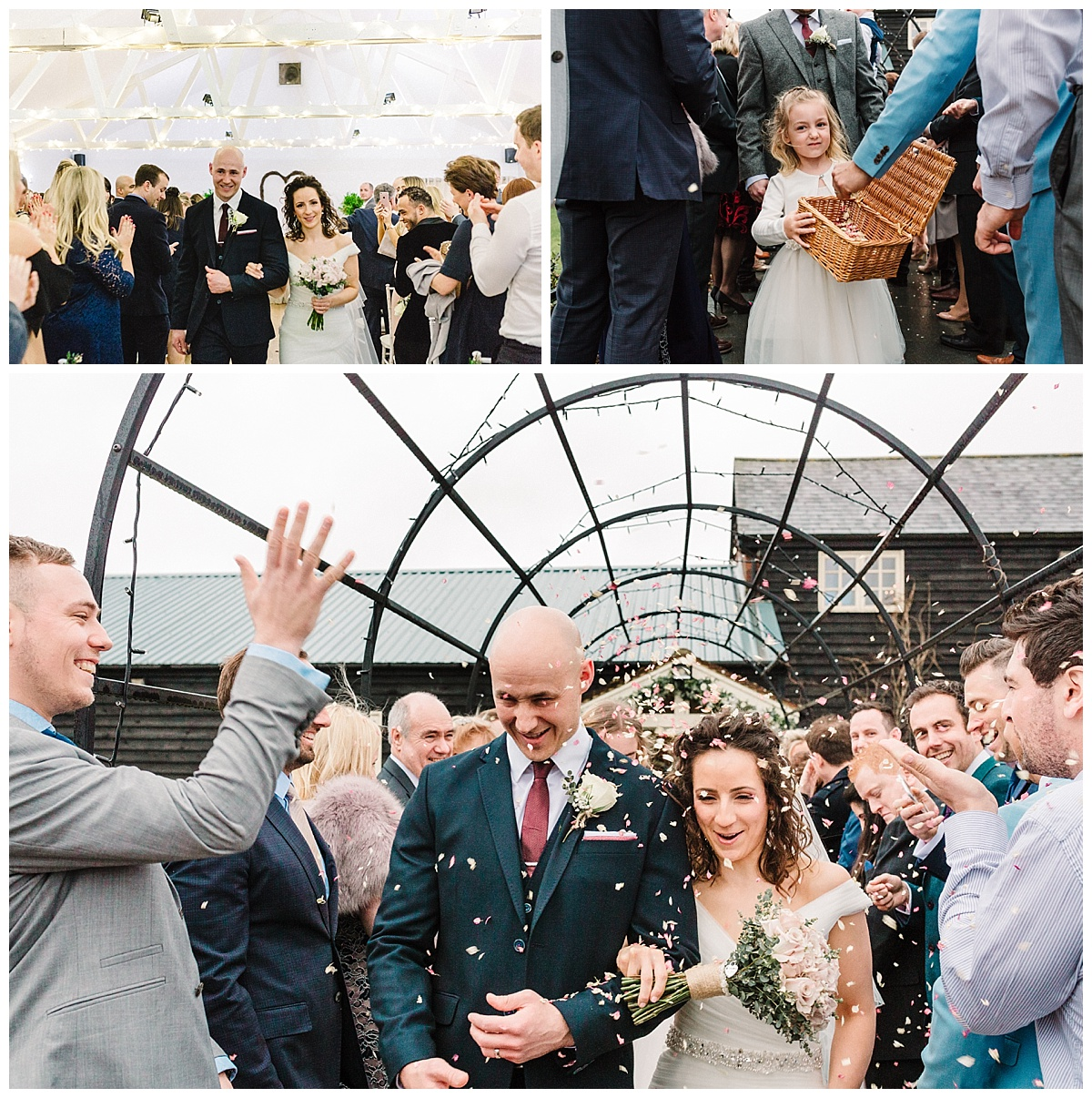 guests throw confetti over a bride and groom