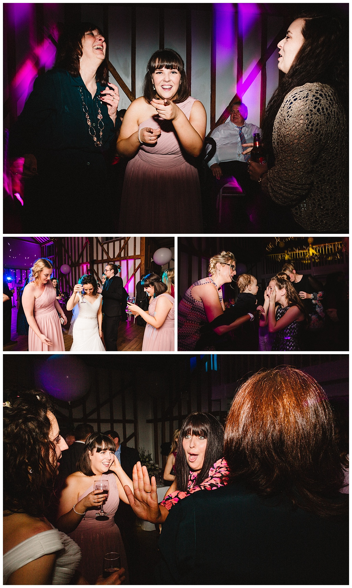 guests dancing at a barn wedding in hertfordshire