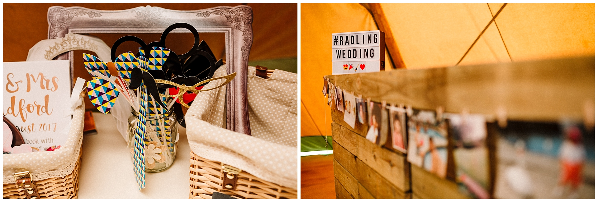 Photobooth props and tipi decorations