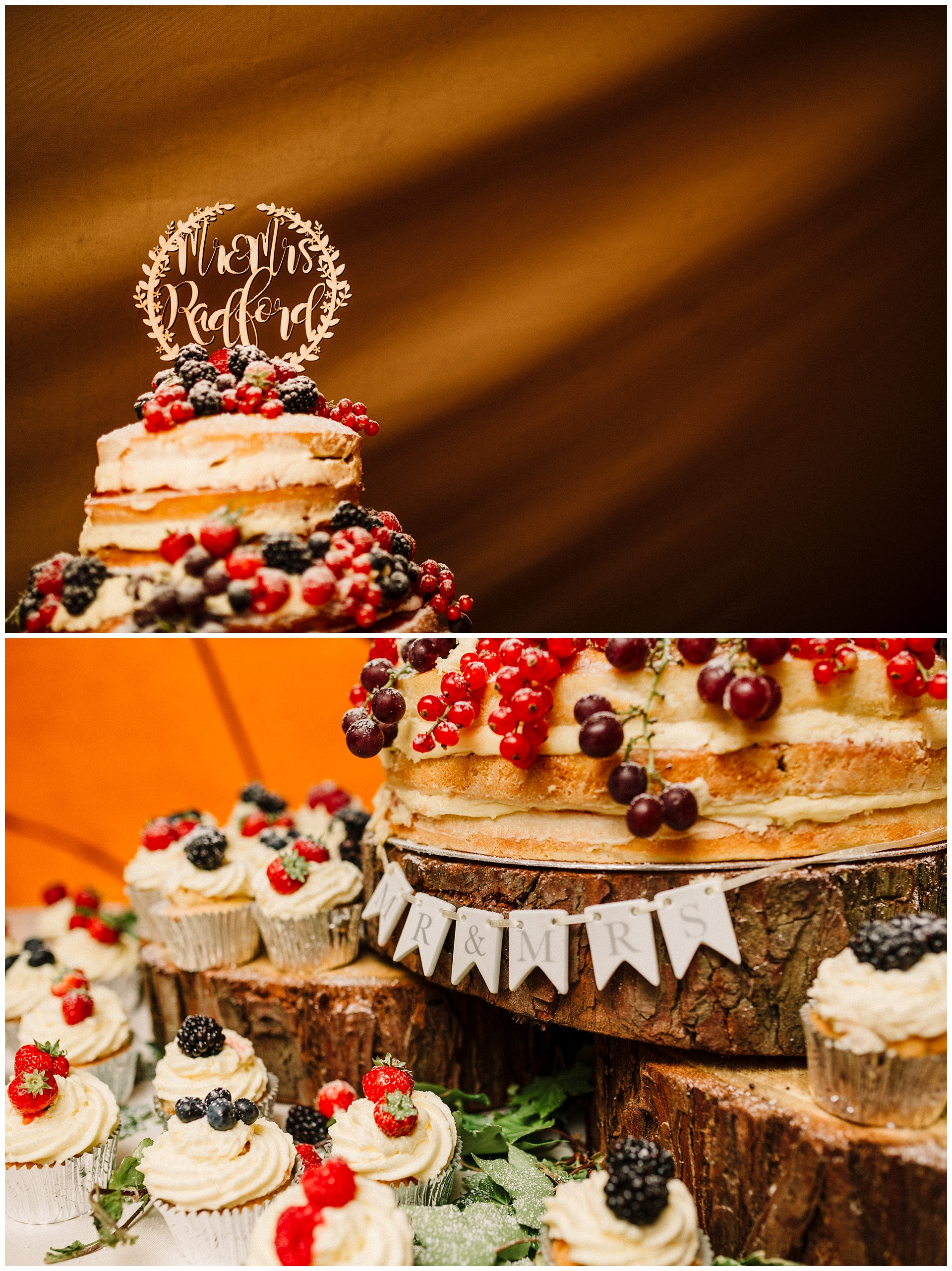 A wooden cake topper on a naked wedding cake and cupcakes covered in berries
