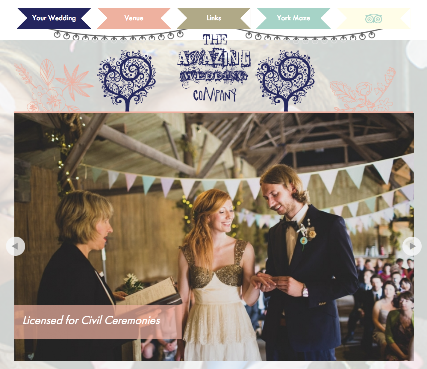 Screenshot from the York Maze Weddings homepage, featured wedding image by Tobiah Tayo.