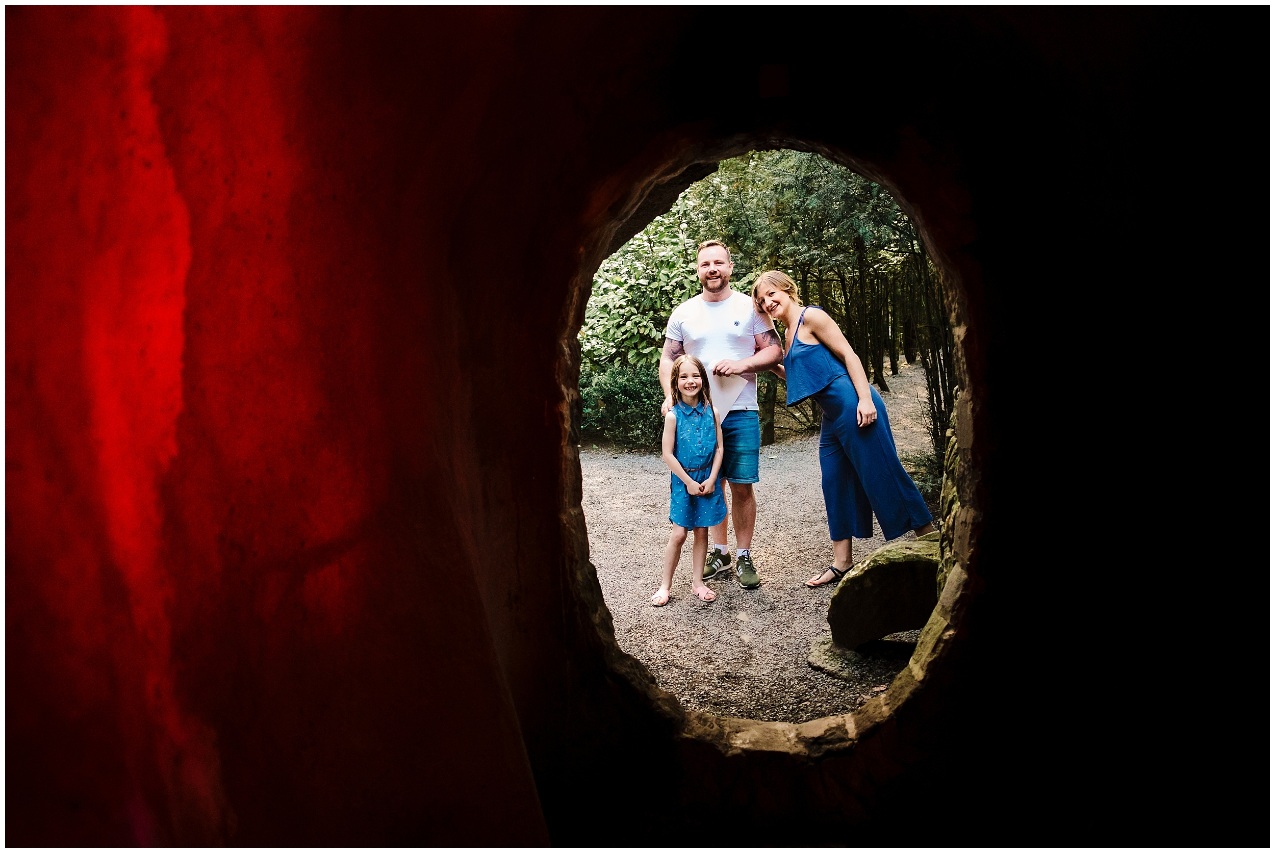 A family at The Forbidden Corner in the Yorkshire Dales
