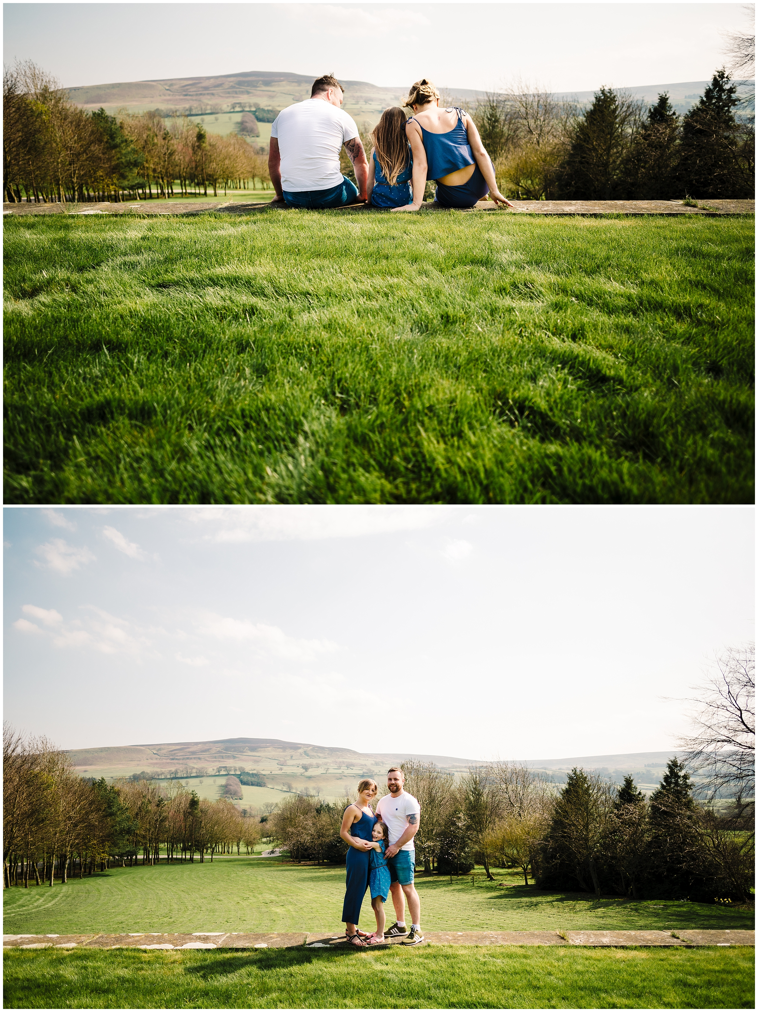 An engaged couple sat on the lawns at The Forbidden Corner in Yorkshire