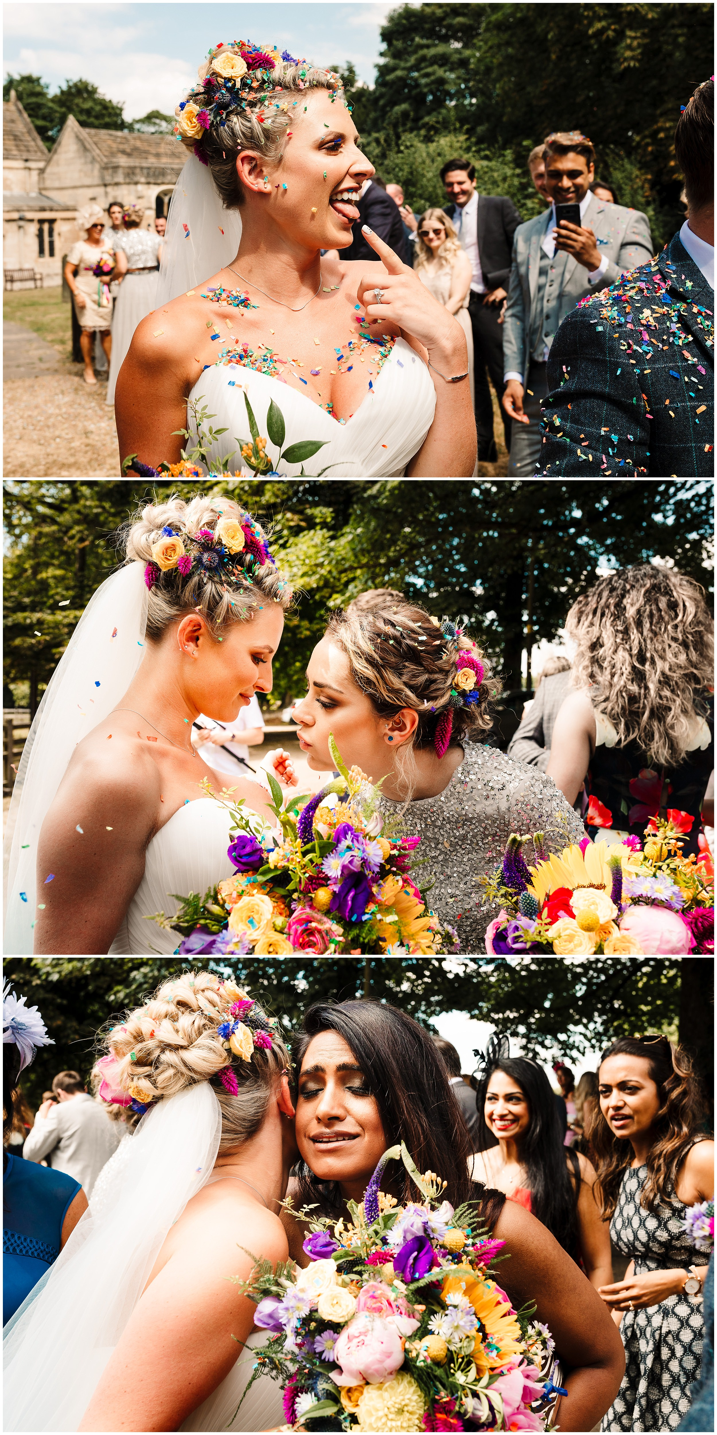 A Yorkshire bride covered in colourful wedding confetti