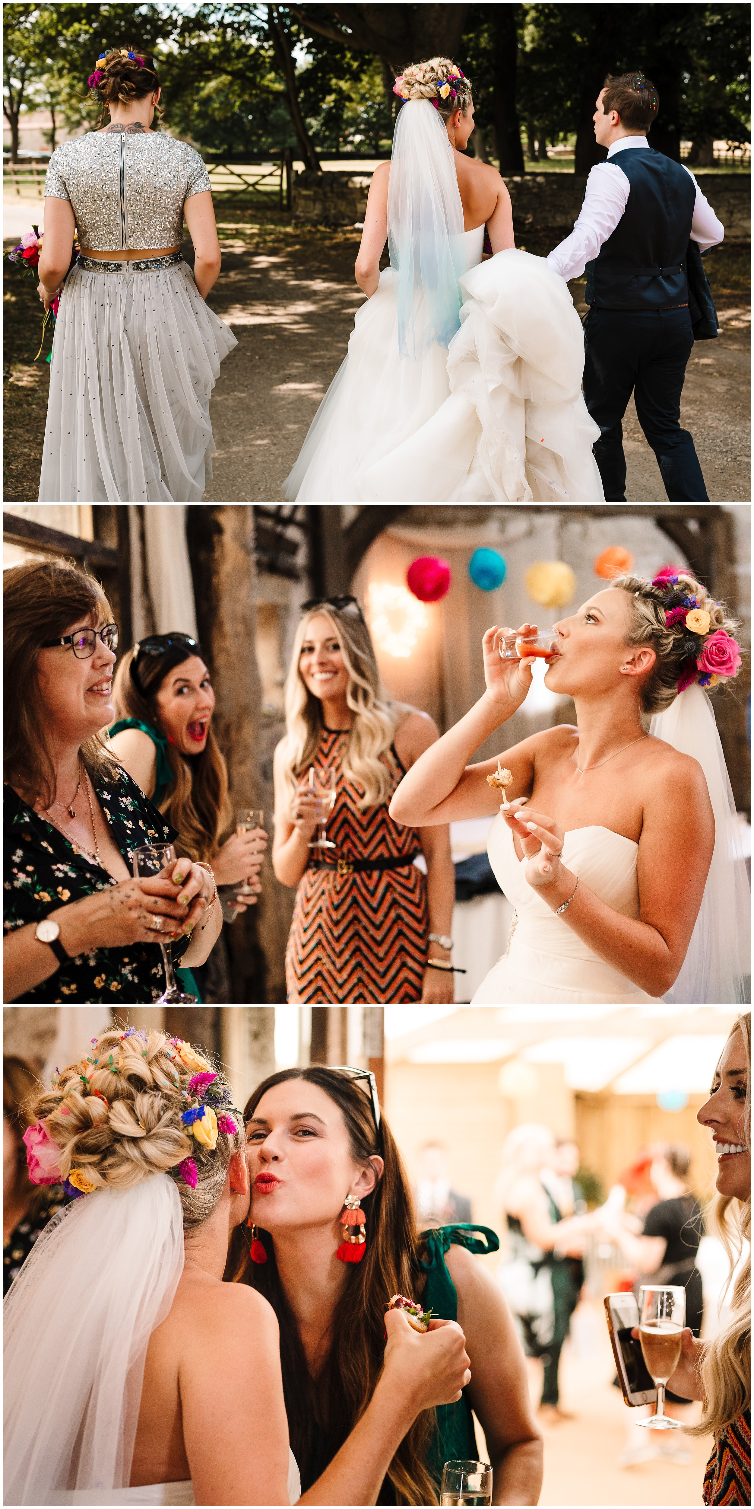 guests and bride at a farm wedding in yorkshire