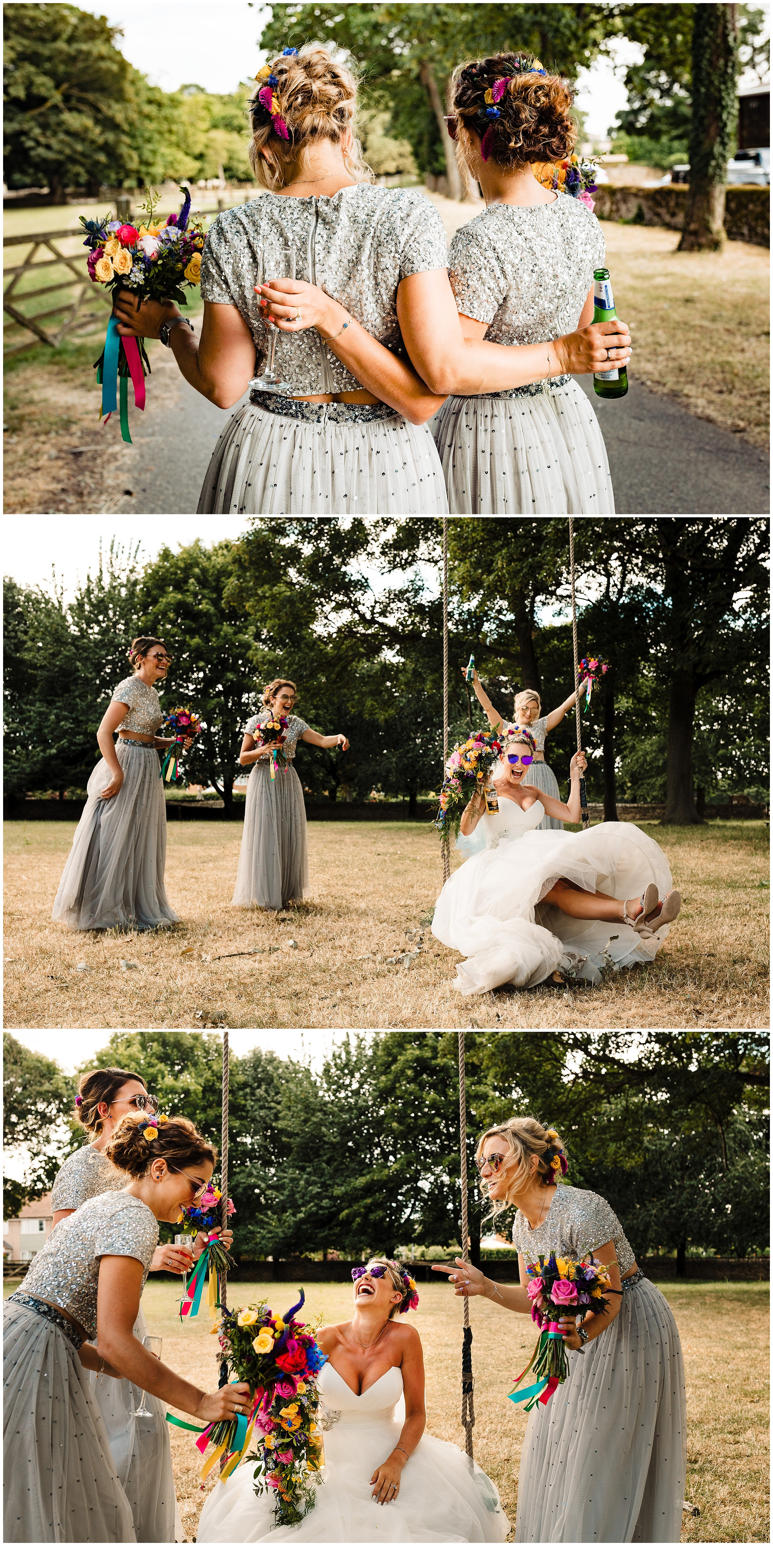 A bride and her bridesmaids having fun on a swing at a wedding in Yorkshire
