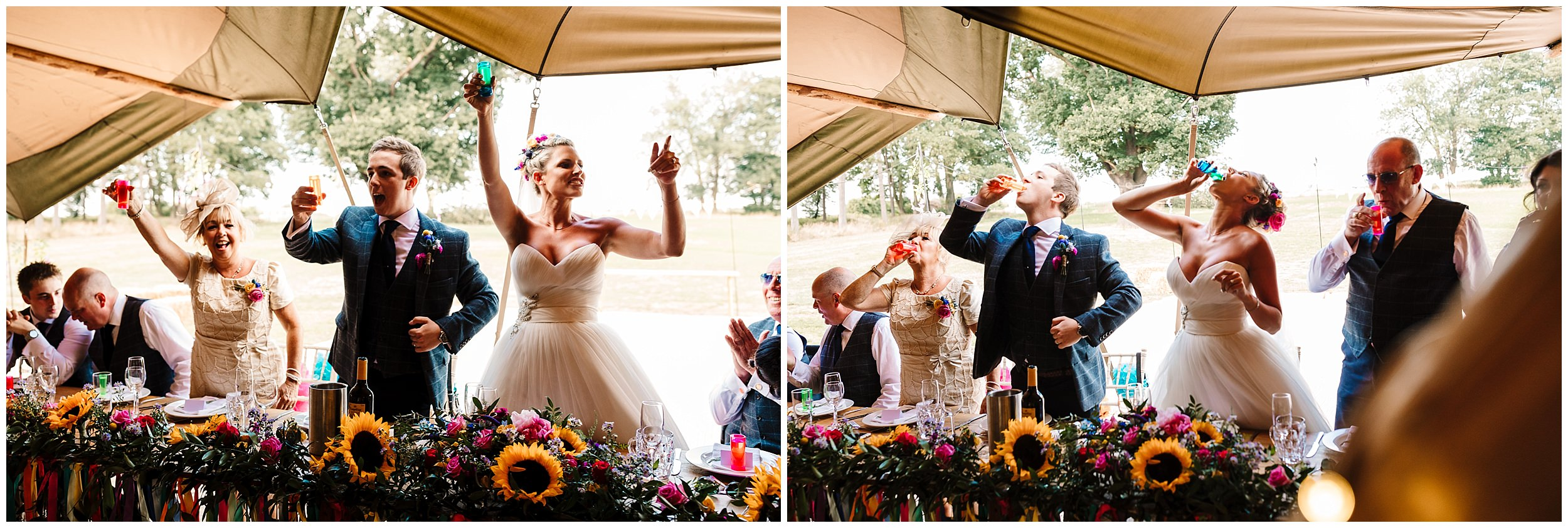 wedding guests doing shots at a wedding in a tipi