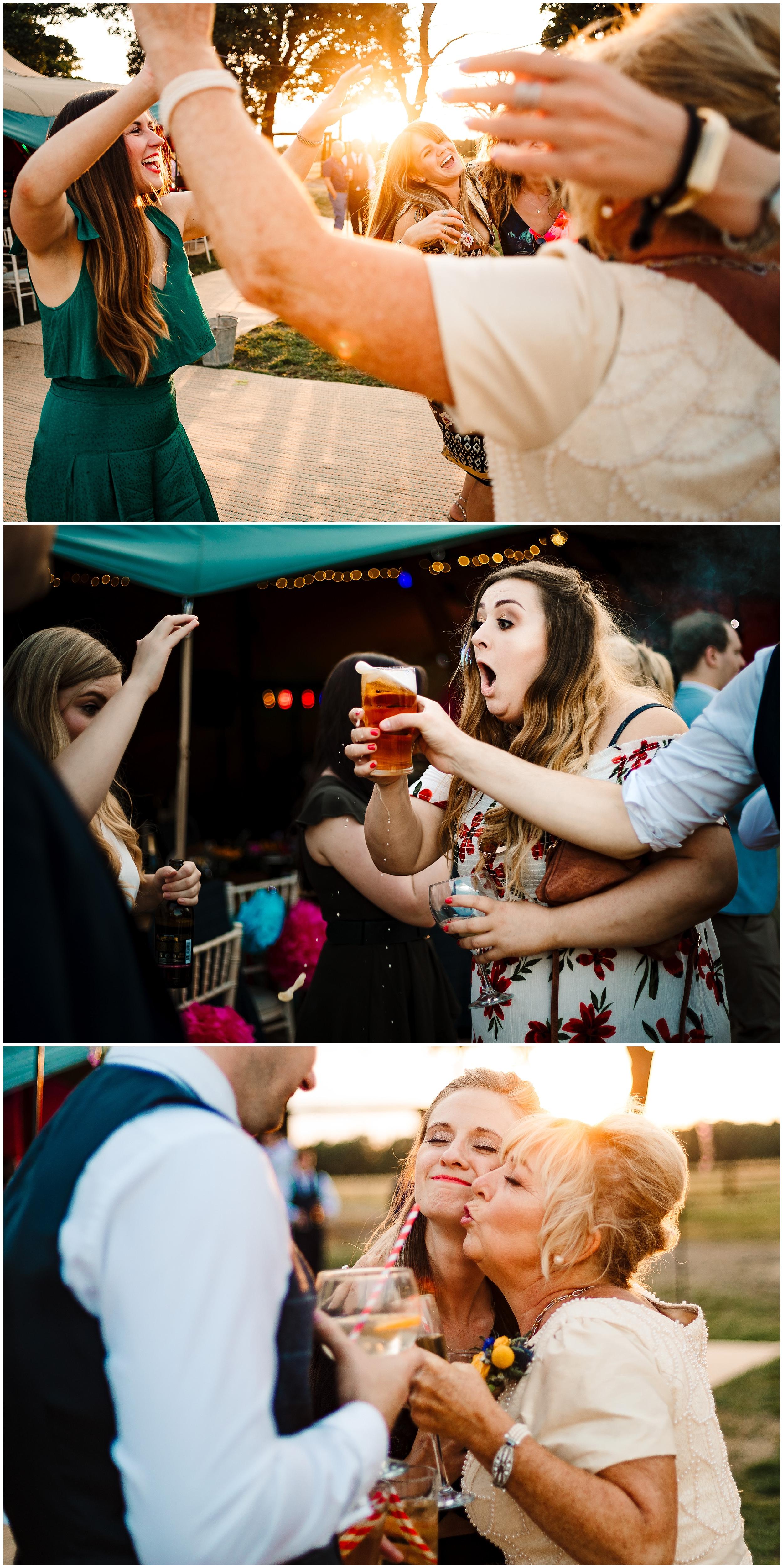 guests having fun and dancing at a tipi wedding at sunset
