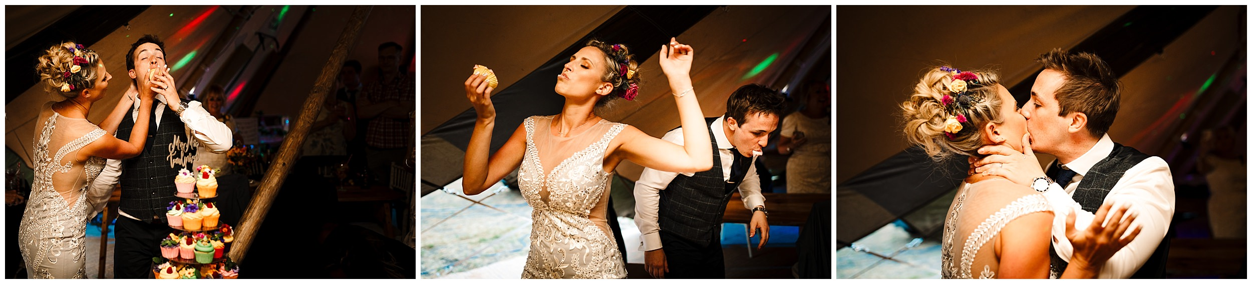 a bride and groom shove cake into each other's faces at their wedding