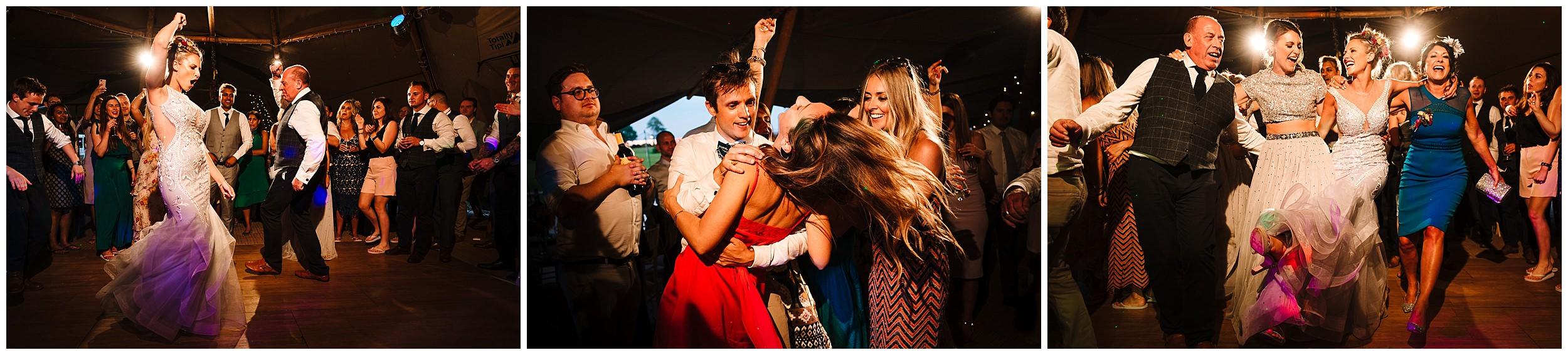 guests dancing on a wedding dance floor