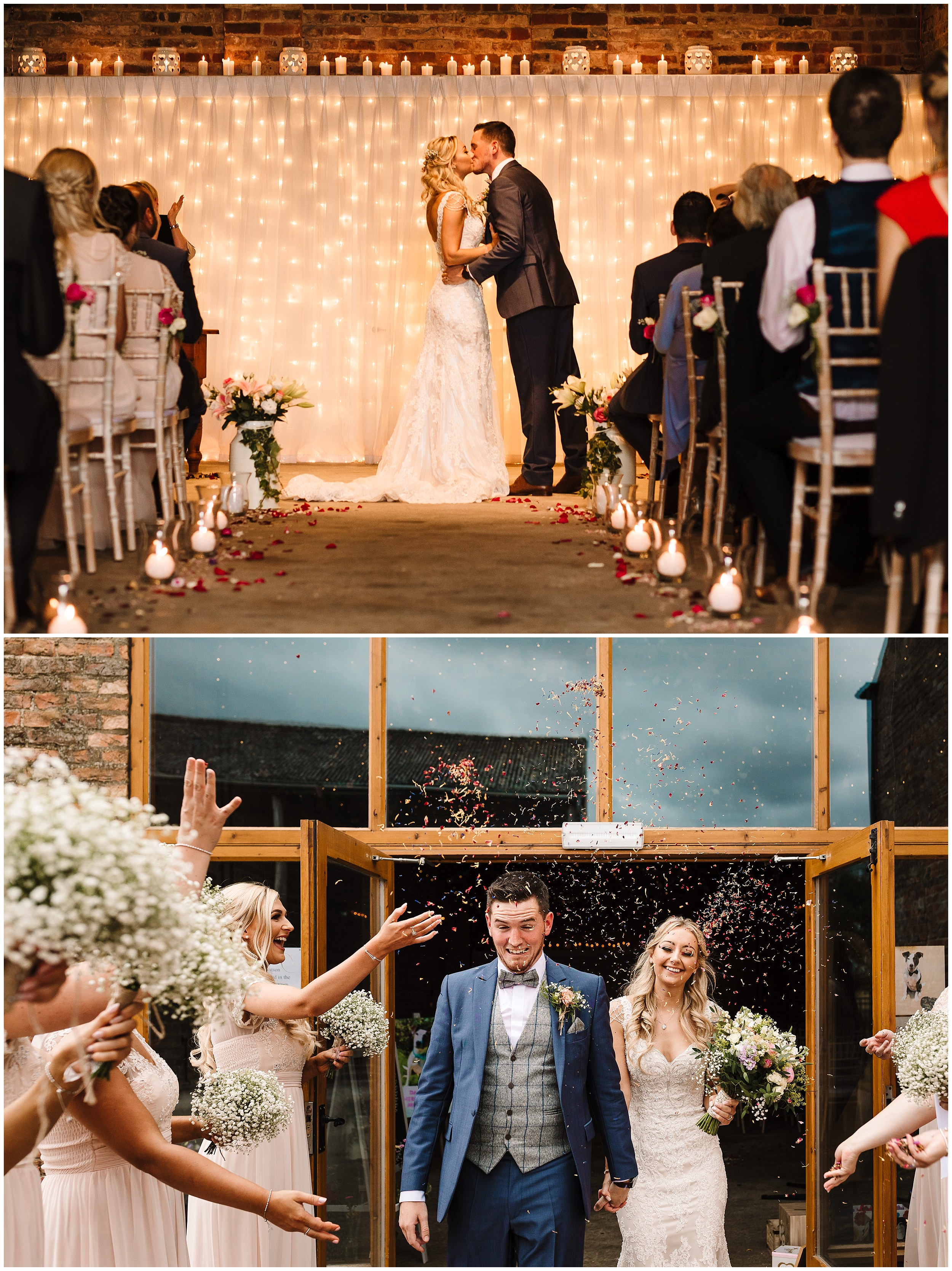 A BRIDE AND GROOM KISSING AND WALKING THROUGH CONFETTI AT BARMBYFIELD BARNS NEAR YORK
