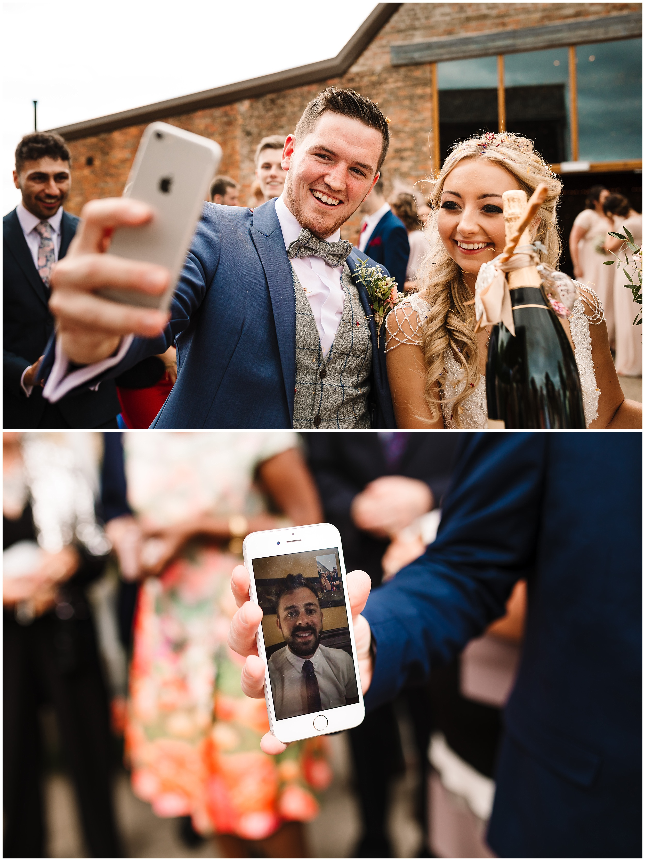 A BRIDE AND GROOM TALK TO THEIR FRIEND ON FACETIME AT THEIR WEDDING