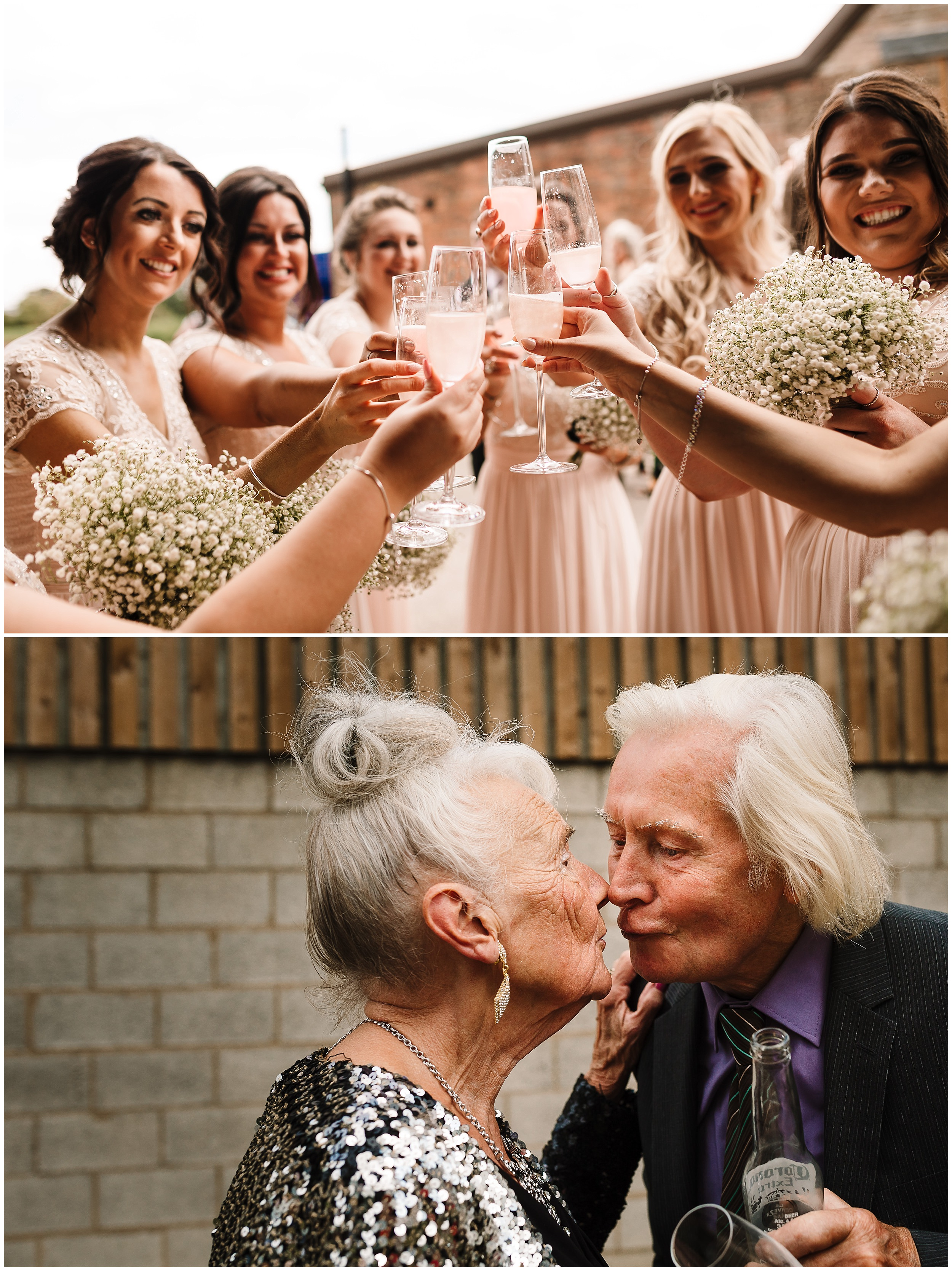 BRIDESMAIDS DRINKING CHAMPAGNE AT A WEDDING RECEPTION IN YORKSHIRE
