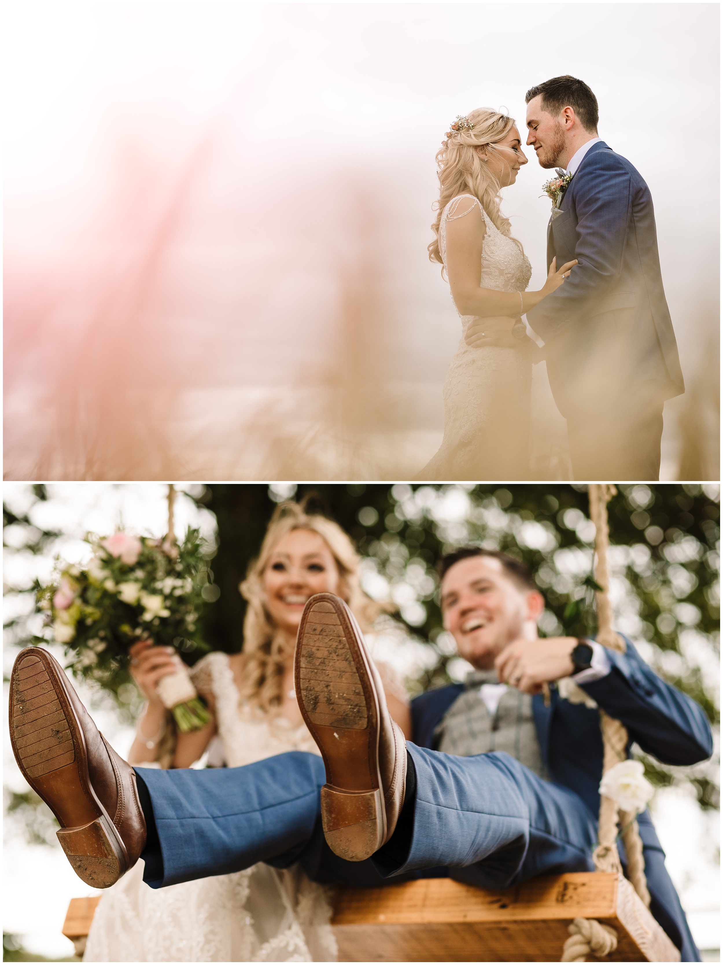 A COUPLE  HAVING FUN DURING THEIR WEDDING PORTRAITS IN YORKSHIRE