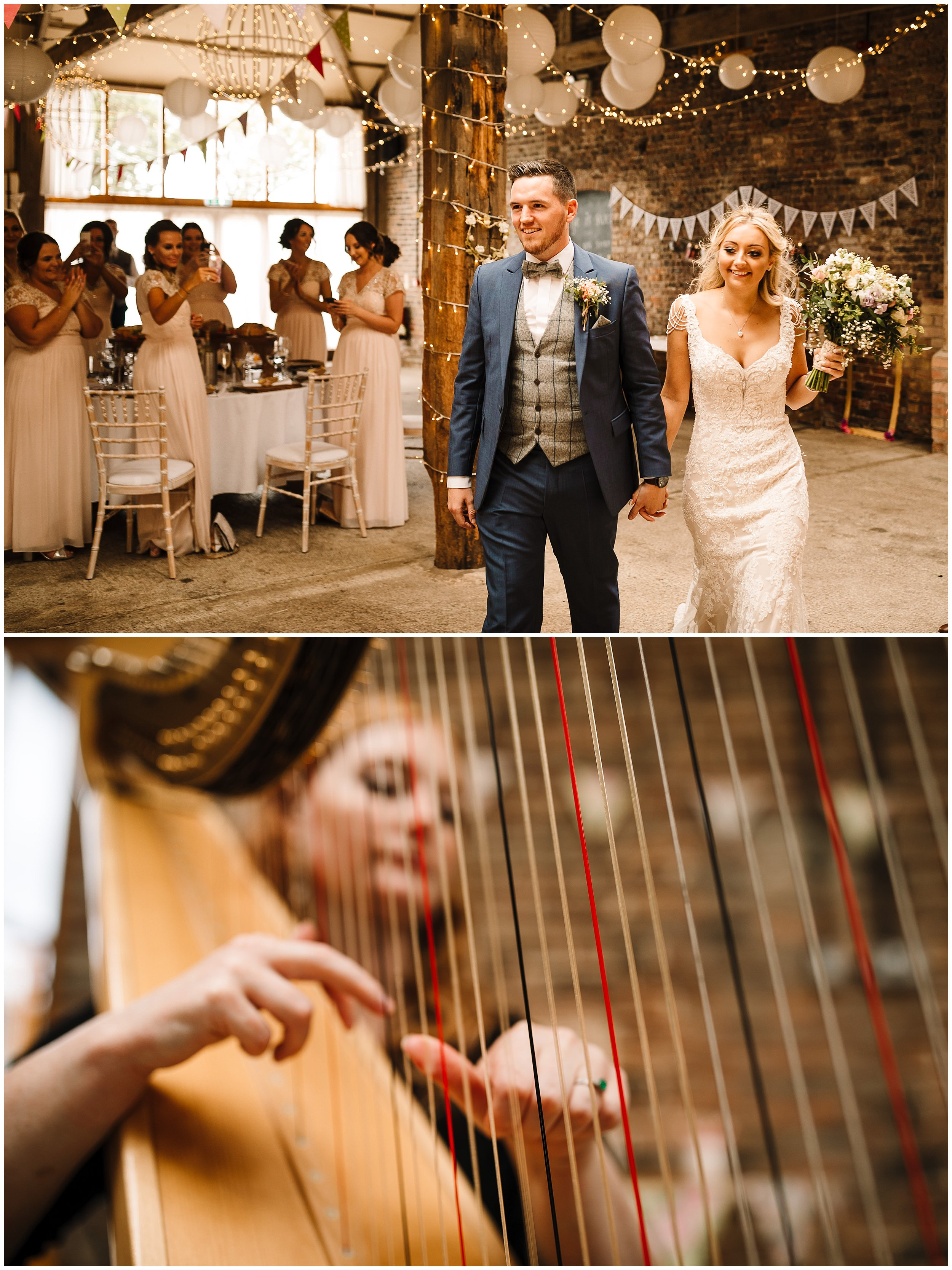 A BRIDE AND GROOM ARE ANNOUNCED INTO THE ROOM AT BARMBYFIELD BARNS