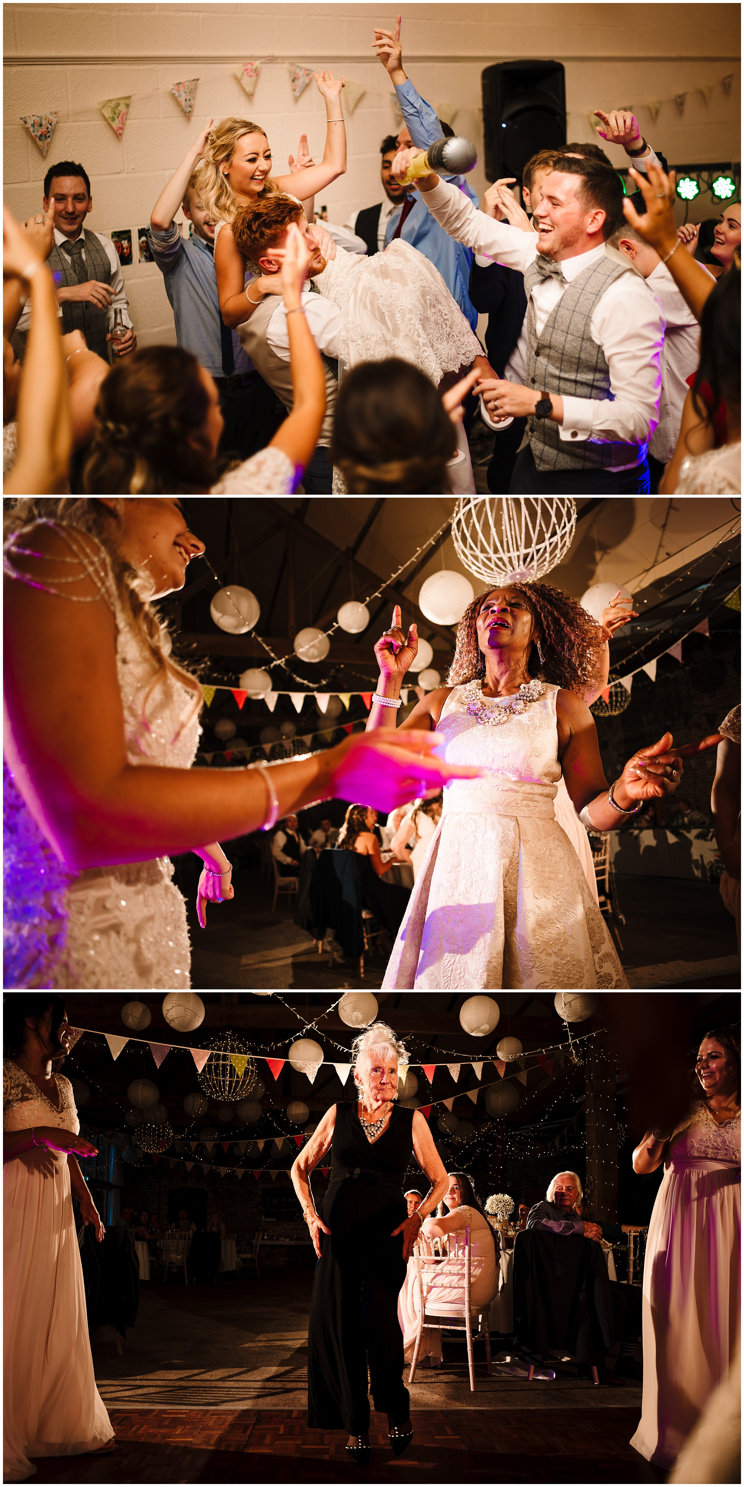 GUESTS ON THE DANCE FLOOR AT A WEDDING IN YORKSHIRE