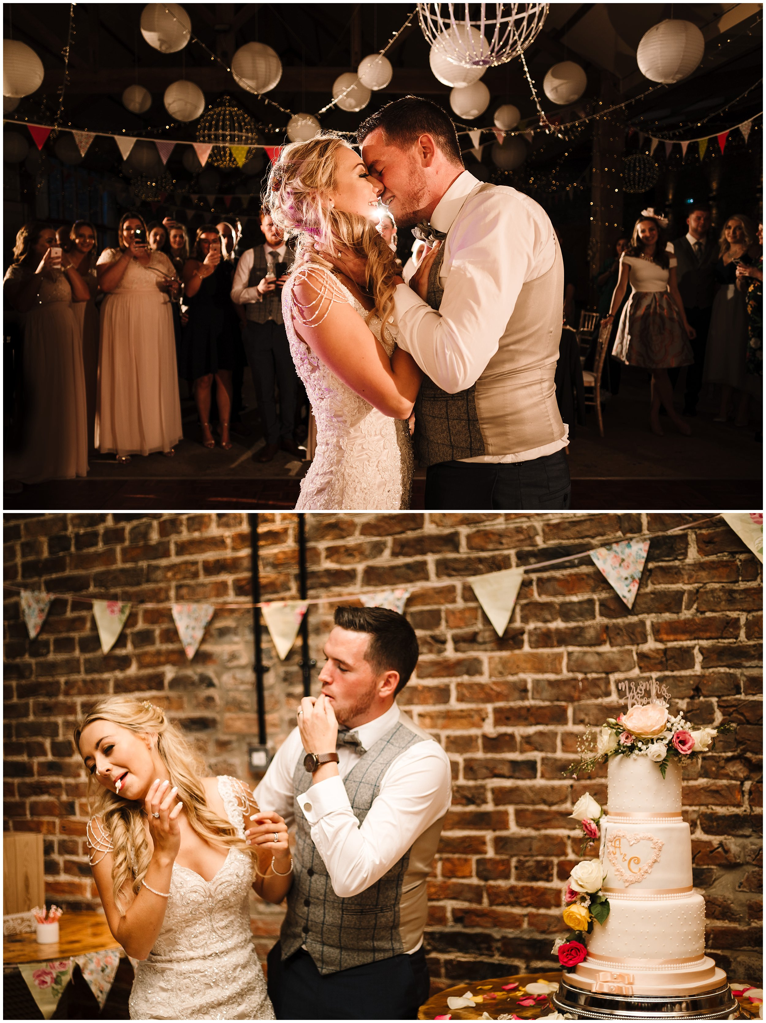 A BRIDE AND GROOM DOING THEIR FIRST DANCE AND CUTTING THEIR CAKE IN YORKSHIRE