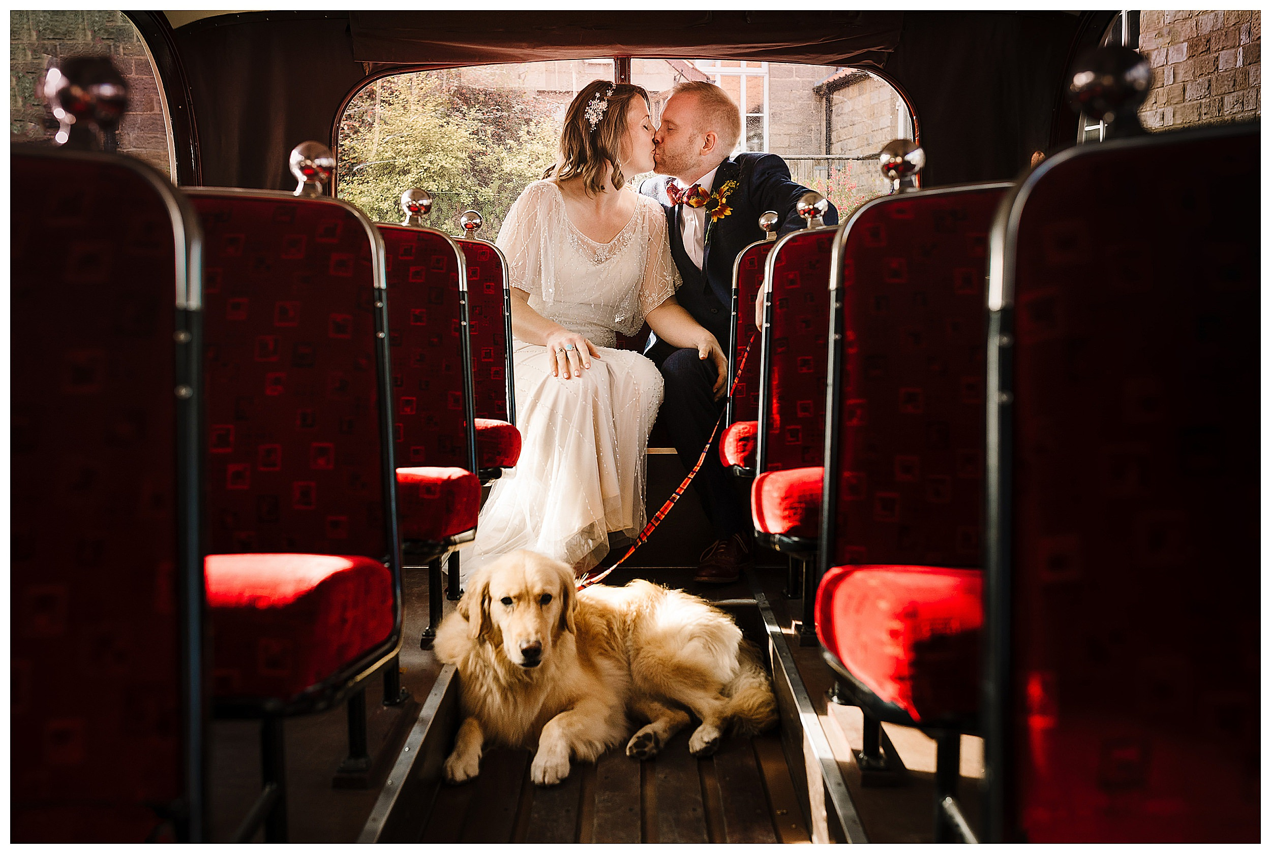 A bride and groom sat on a vintage bus kissing with their dog at their feet