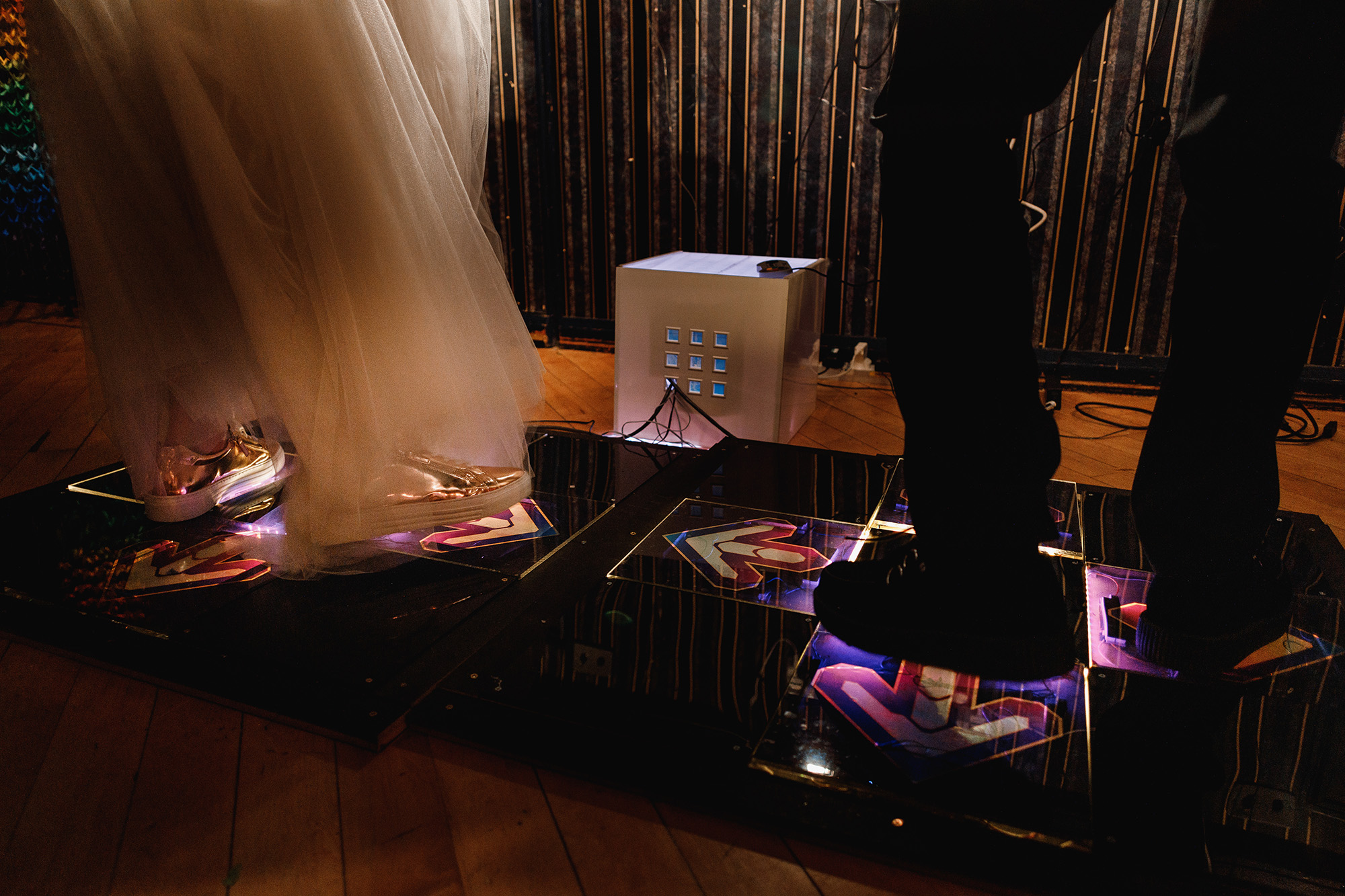 A low angle shot of a bride and groom's feet on a dance mat