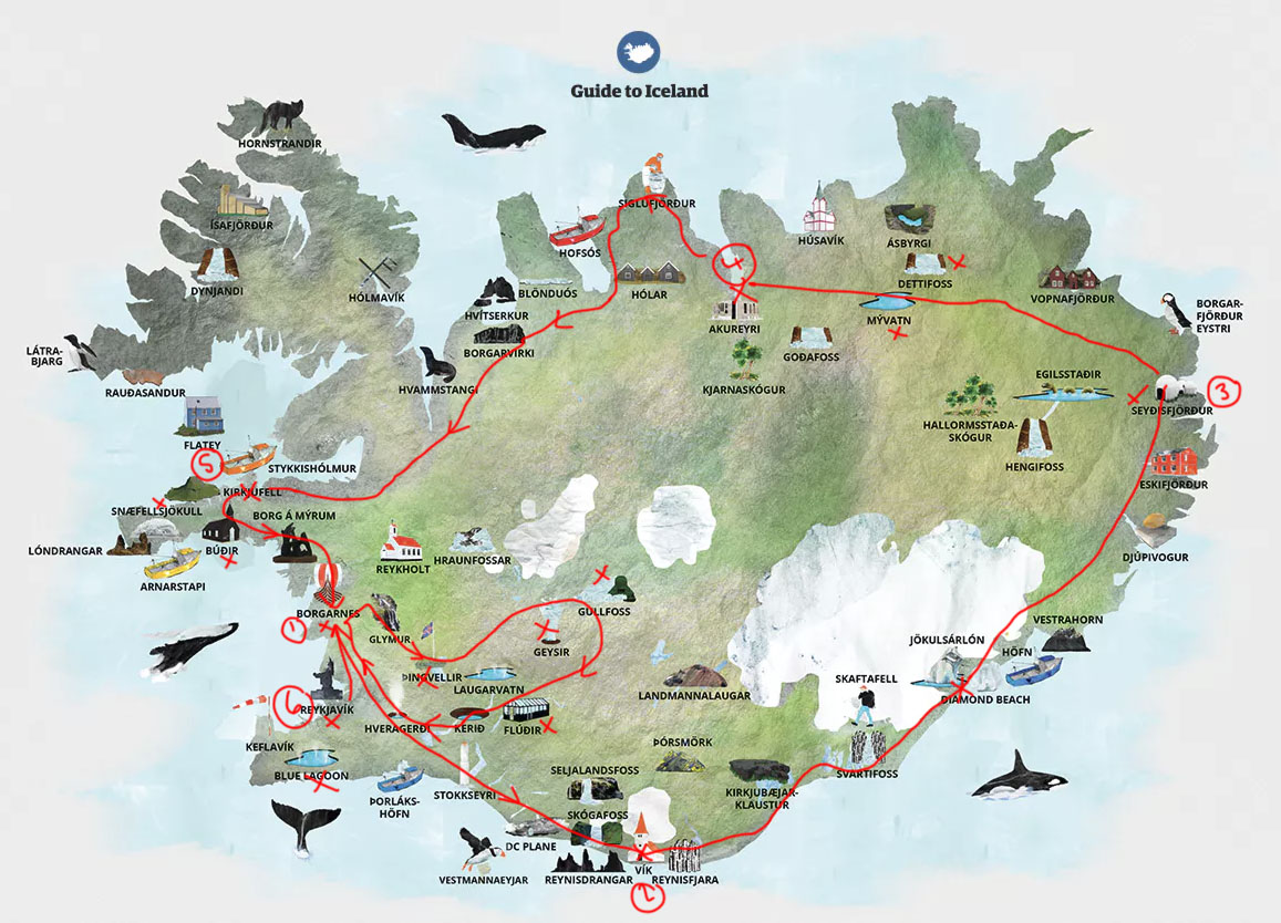 Map from  guidetoiceland.is