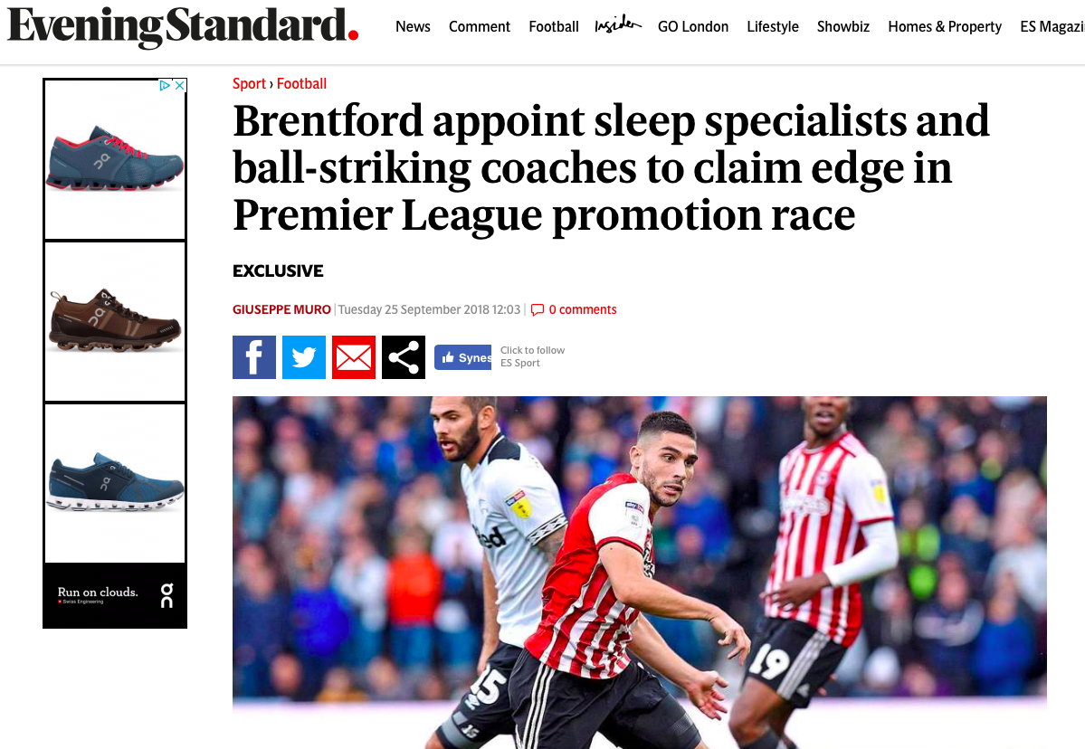 Evening standard_Brentford_Appoints sleep specialist_November 2018.png