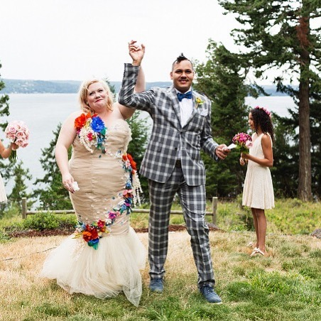 """#bopofriday Featuring Lindy West on her wedding day. I loved West's book Shrill and I basically gobble up everything she writes... ⠀ 😍 ⠀ Lindy says:⠀ """"As I got older, I started to think about bodies — and the beauty and diet industries — in a more critical way. I spent a lot of time looking at diverse bodies, and thinking about this idea we've been sold that there's only one path to beauty — and therefore to happiness and fulfillment and success, as well. It took me until my late 20s to start thinking about what I actually liked. And, of course, it was complicated by the fact that there were very limited fashion options for fat women when I was growing up, so I didn't have the ability to express myself through style.⠀ ✨⠀ Even now fashion options are limited.⠀ Extremely limited. It almost never happens that I see a picture of a fat woman and I can't tell you where her dress came from. There are a small number of designers and retailers doing great work, but there's still no such thing as comparison shopping for us. So, then it becomes a challenge of trying to express who you are, and show individuality, with a narrow range of choices. I actually kind of like that challenge. I'm resentful that I'm forced into it, but it's fun. Now I wear a combination of plus-size clothes, those stretchy 'baggy fit' straight-size clothes, the rare vintage piece.""""⠀ From her article on @cupofjo⠀ .⠀ .⠀ .⠀ .⠀ #bopo #bopowarrior #boporevolution #bopobabe #bopofitness #bodyimage #bodyimagemovement #bodyimagecoach #bodyimagewarrior #allbodiesdeserveloveandrespect #allbodiesdeservelove #healthateverysize #haes #bodyrespect"""