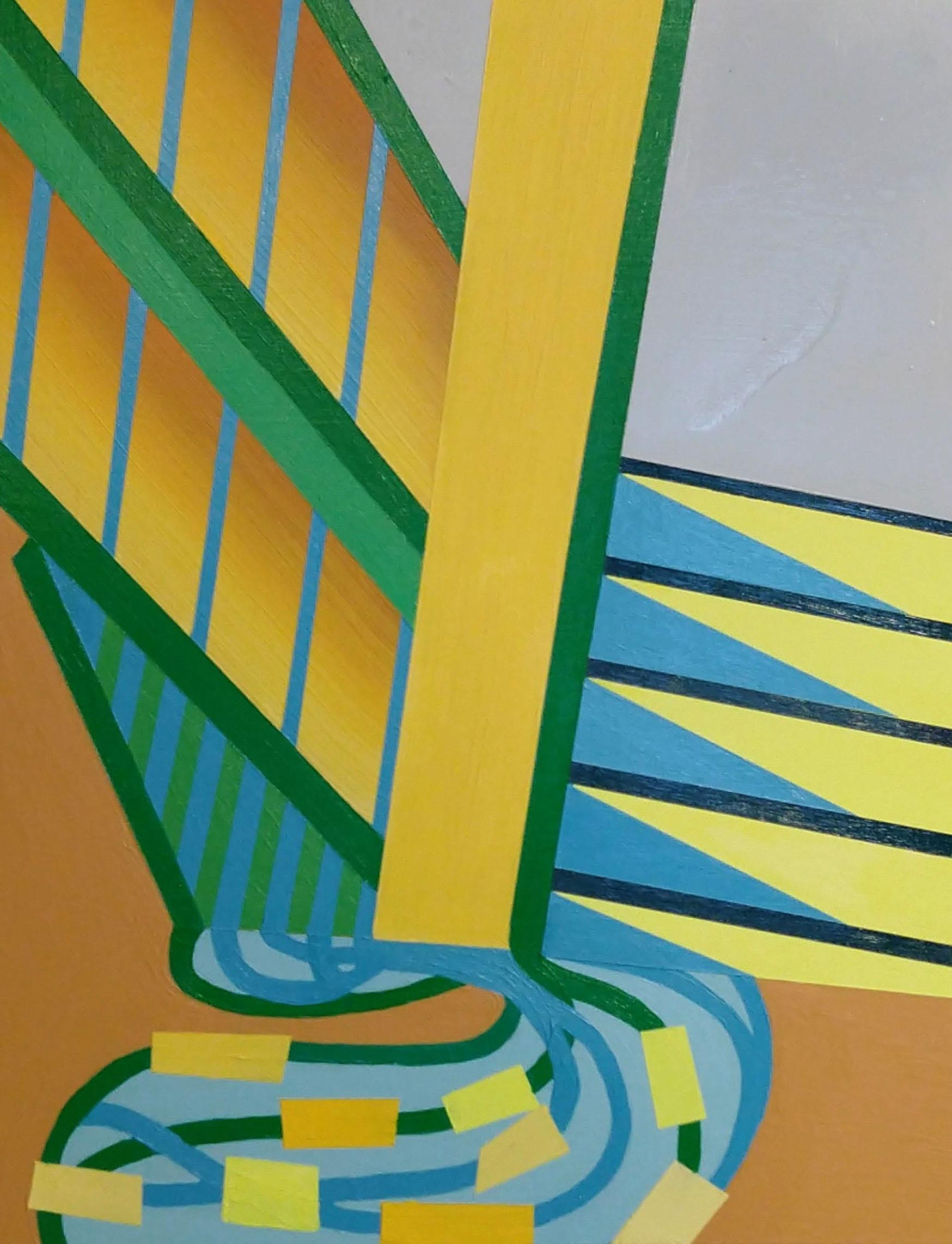Under the Bridge , 14x11, acrylic and spray paint on panel