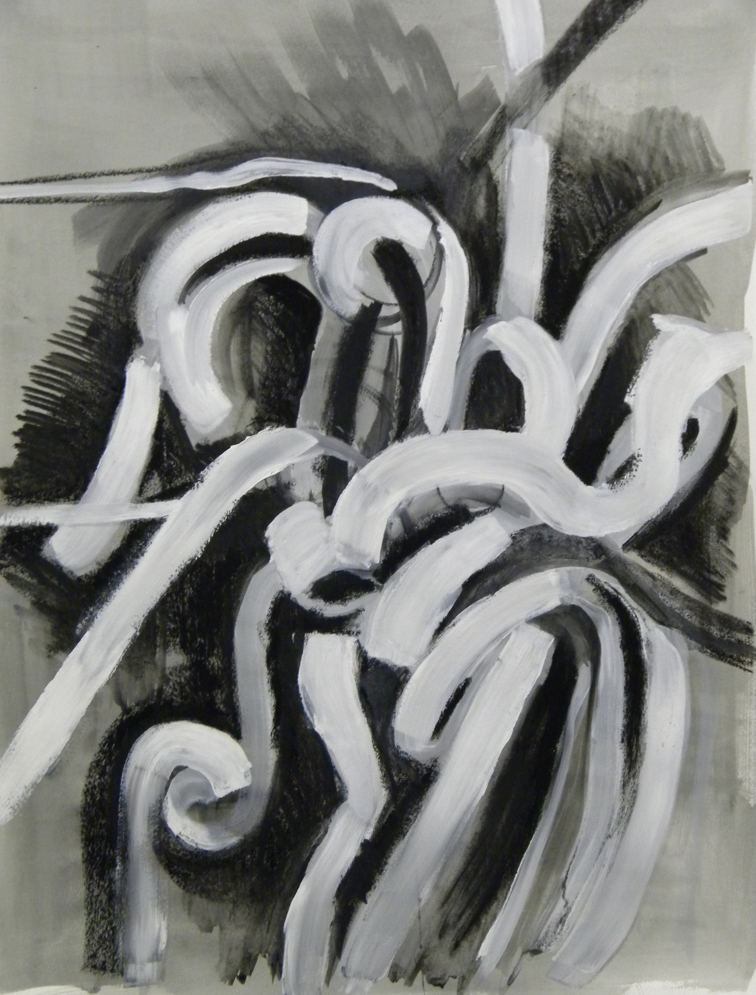 Black and White II , 30x22, mixed media on paper