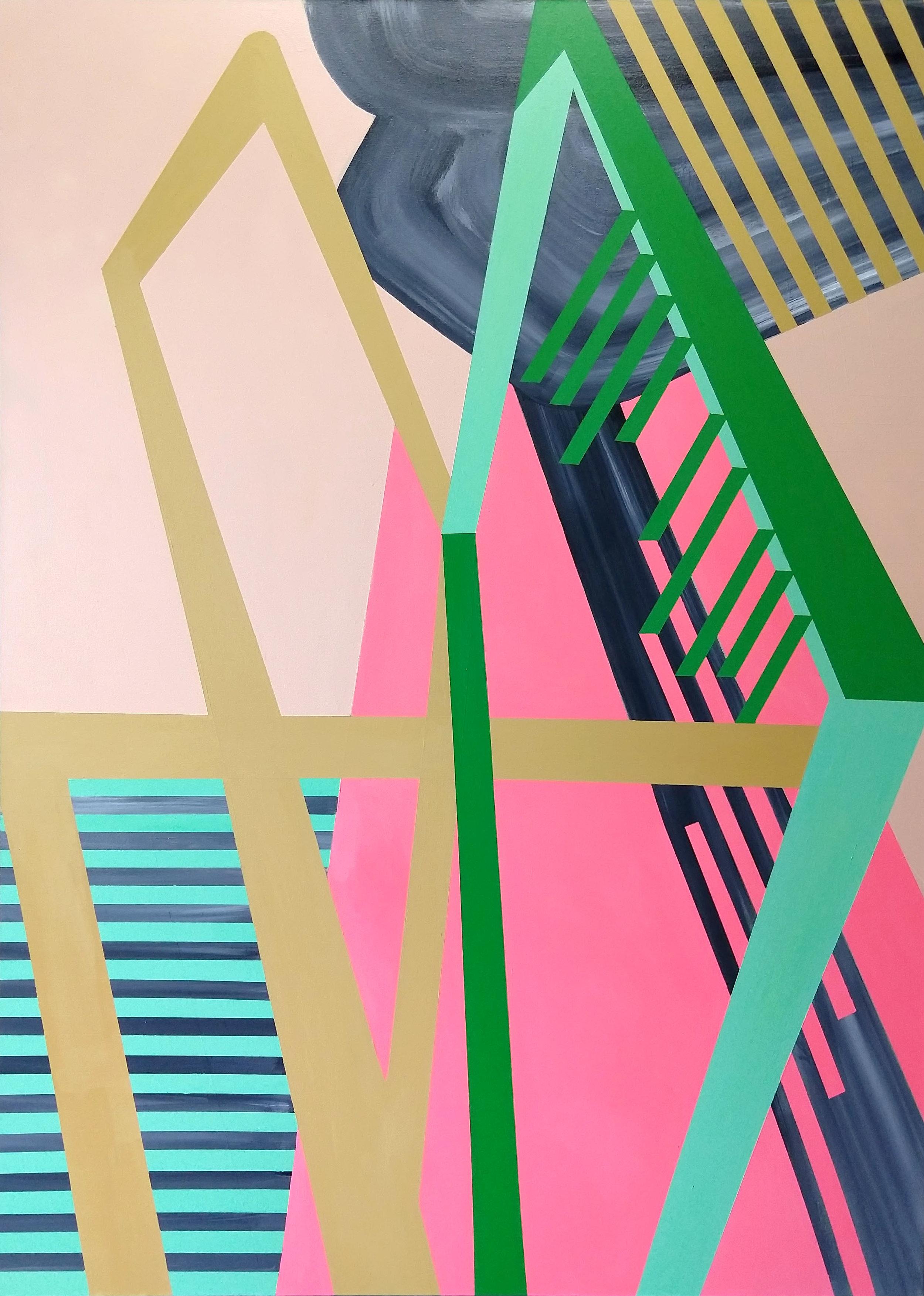Leland and Clark 2 , 66x48, acrylic and spray paint on canvas