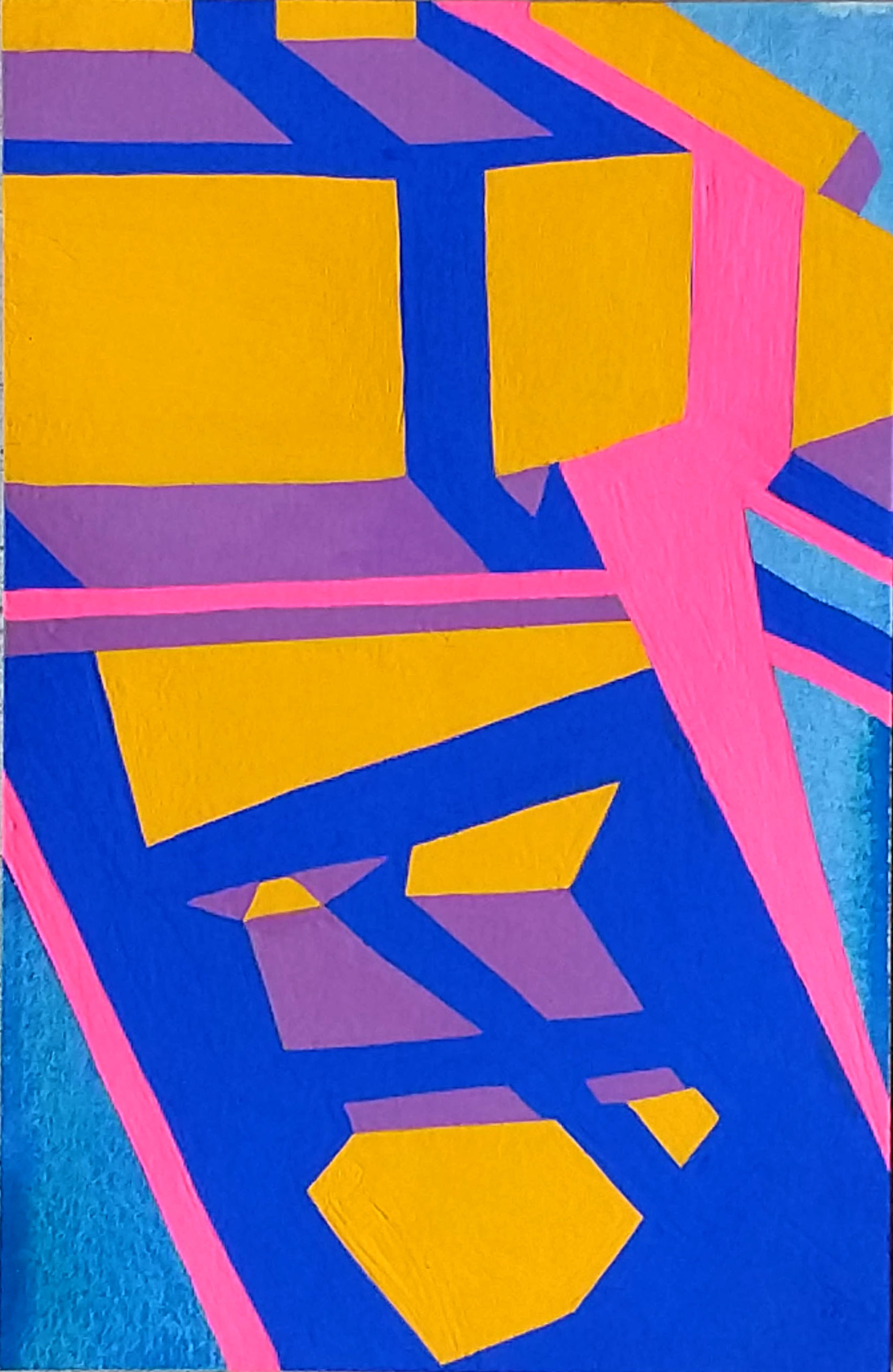 Back Staircase , 8.5x5.5, acrylic and gouache on paper