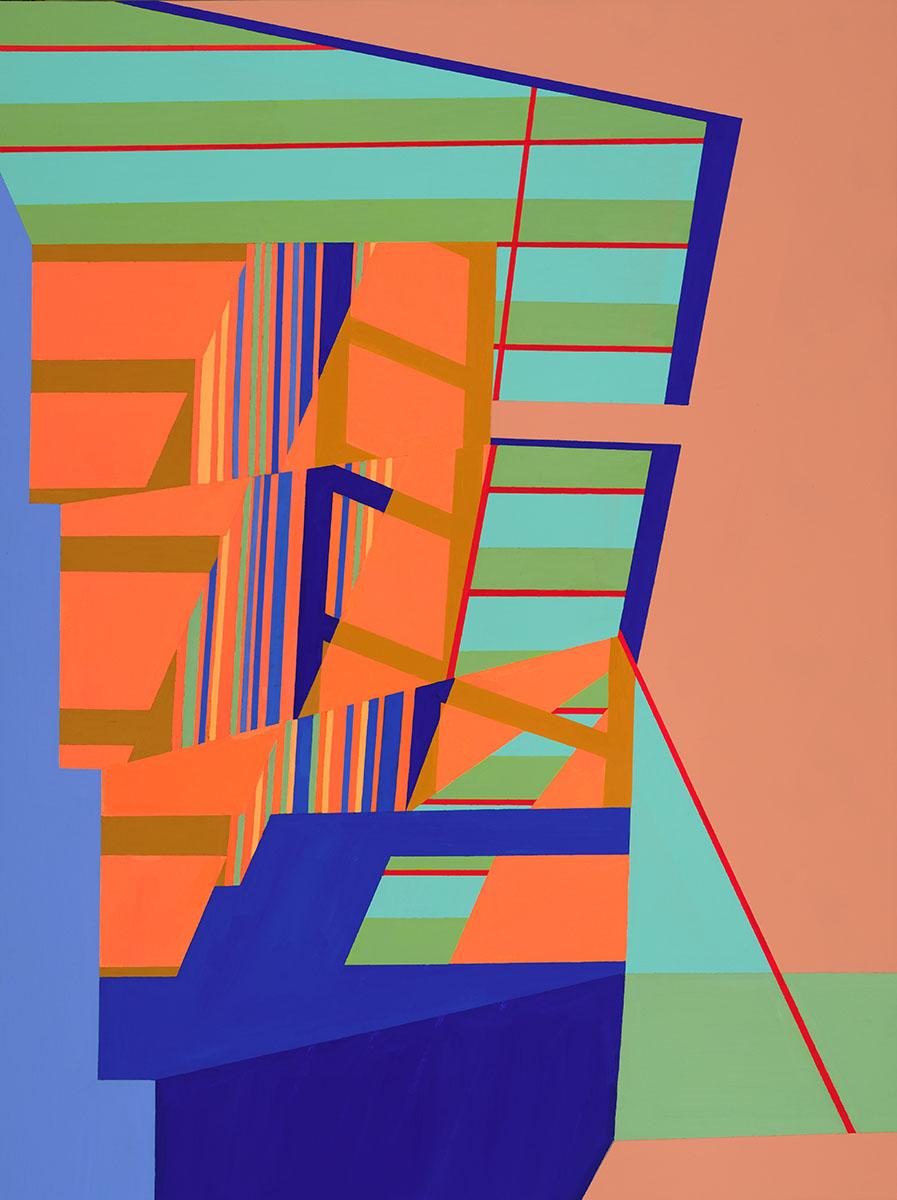 Night Light to Morning Light , 48x36, acrylic and spray paint on canvas
