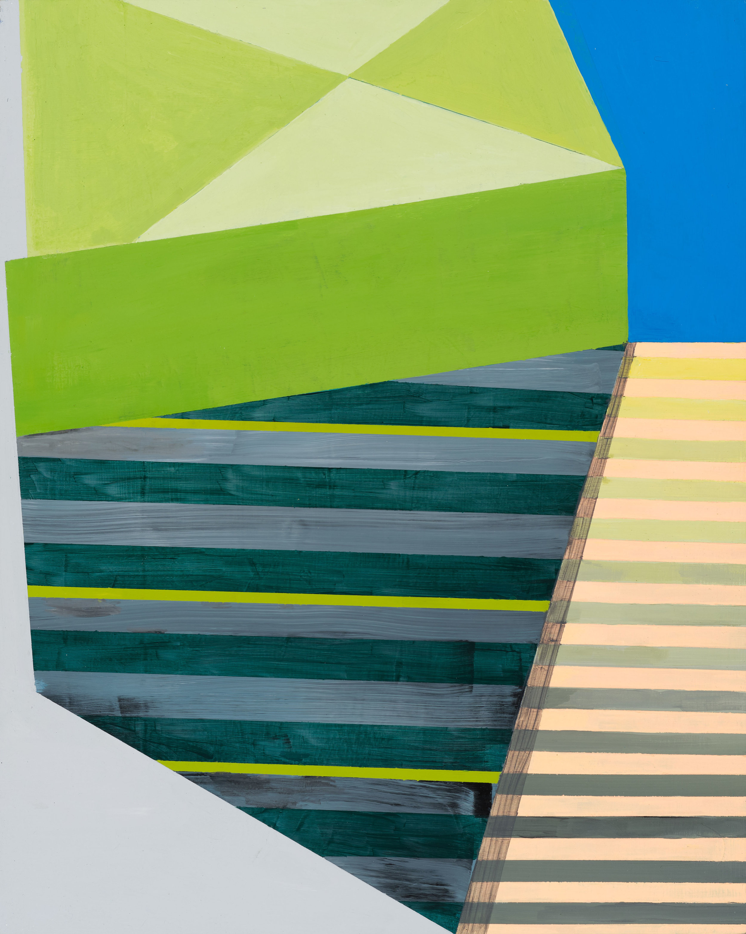 Down the Stairs Looking Up , 20x16, acrylic on panel