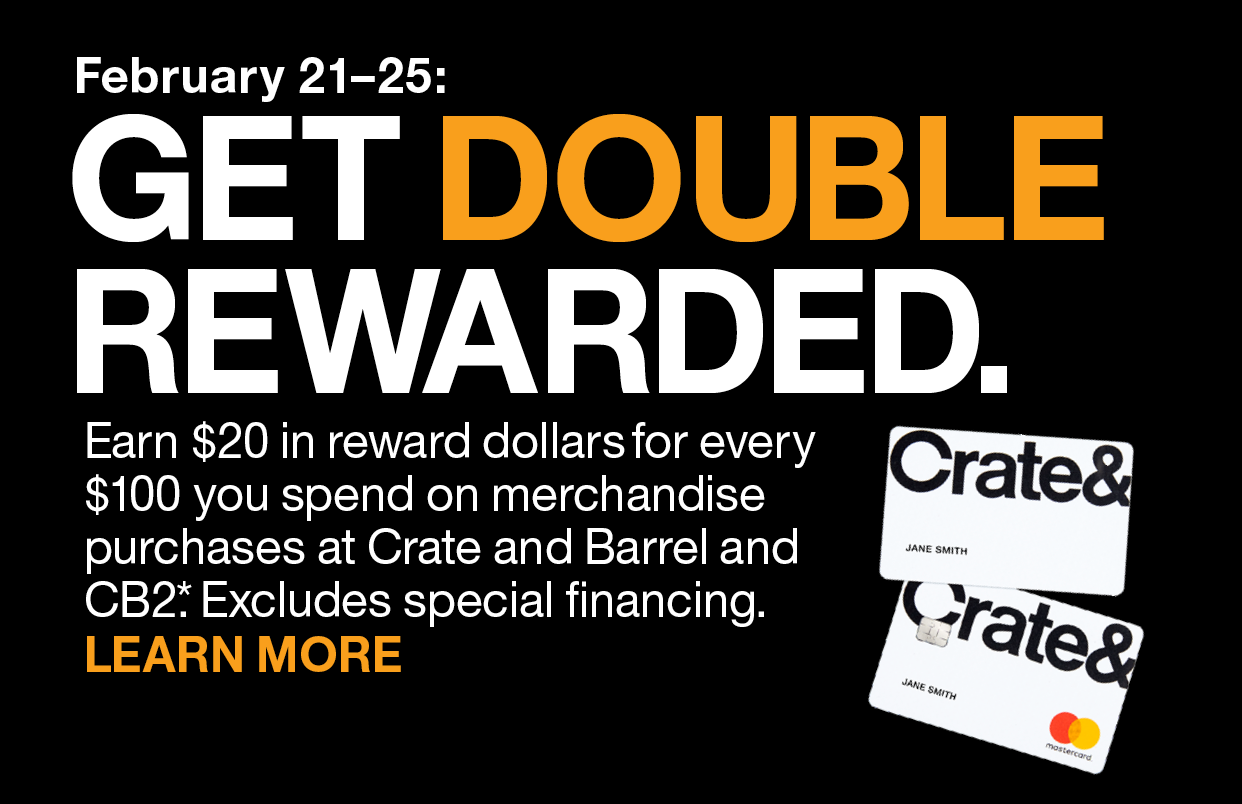 CRATE AND BARREL CREDIT CARD DOUBLE REWARDS SYNCHRONY E-SERVICE ASSETS // 2019