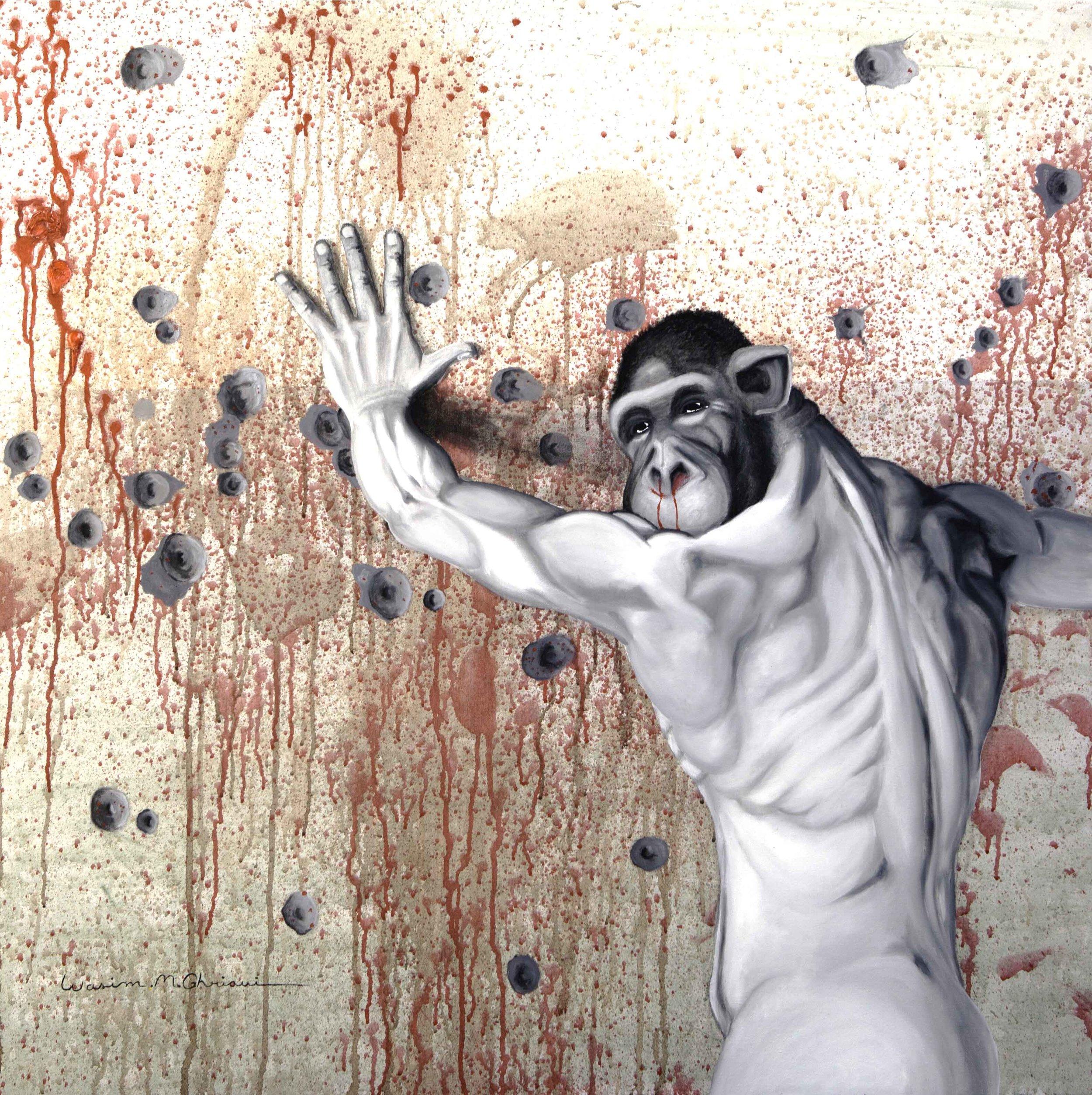 """""""Ape"""",acrylic & oil on canvas. 1x1 m"""
