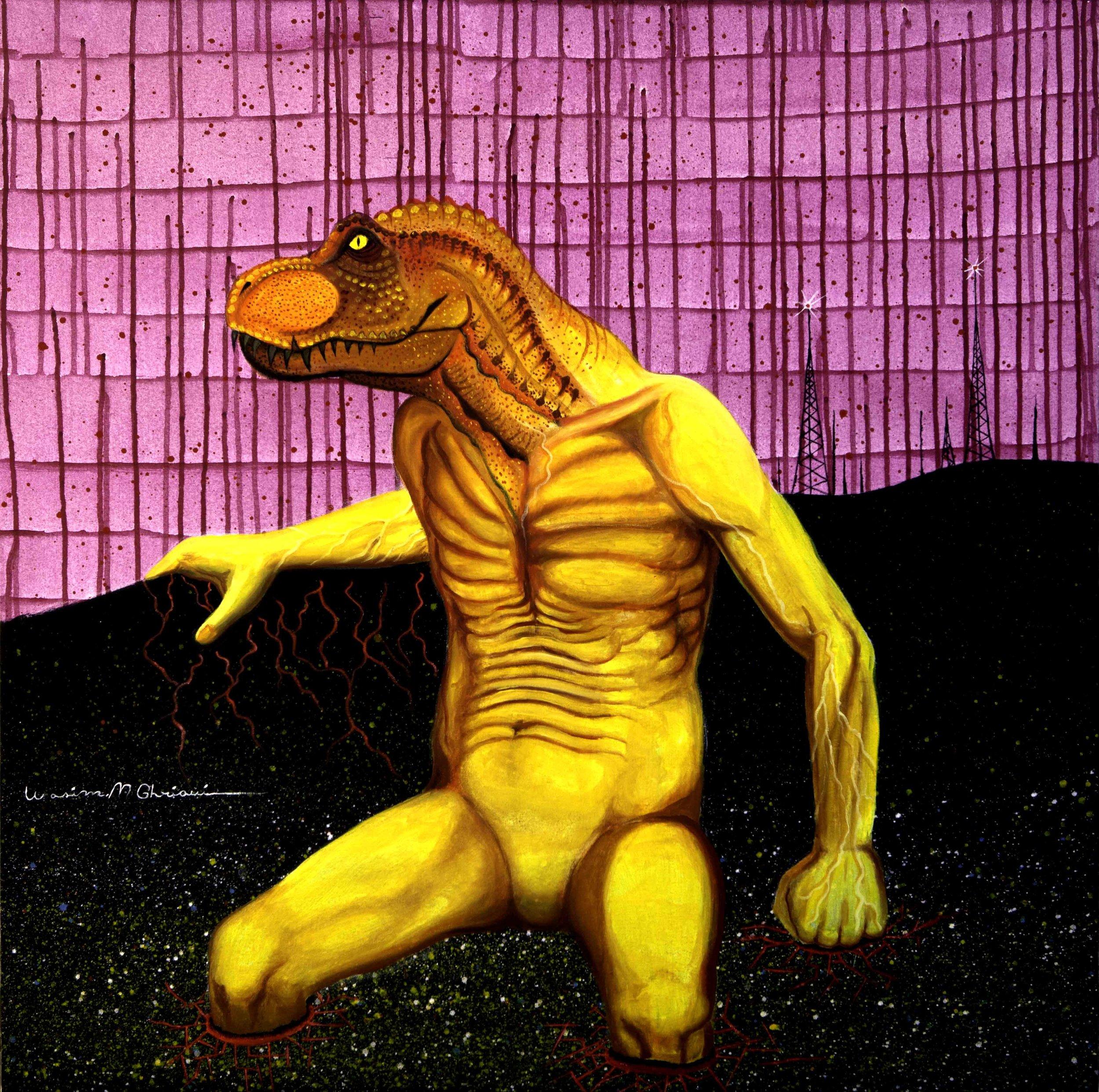 """""""Dinosaur"""",acrylic & oil on canvas. 1x1 m"""