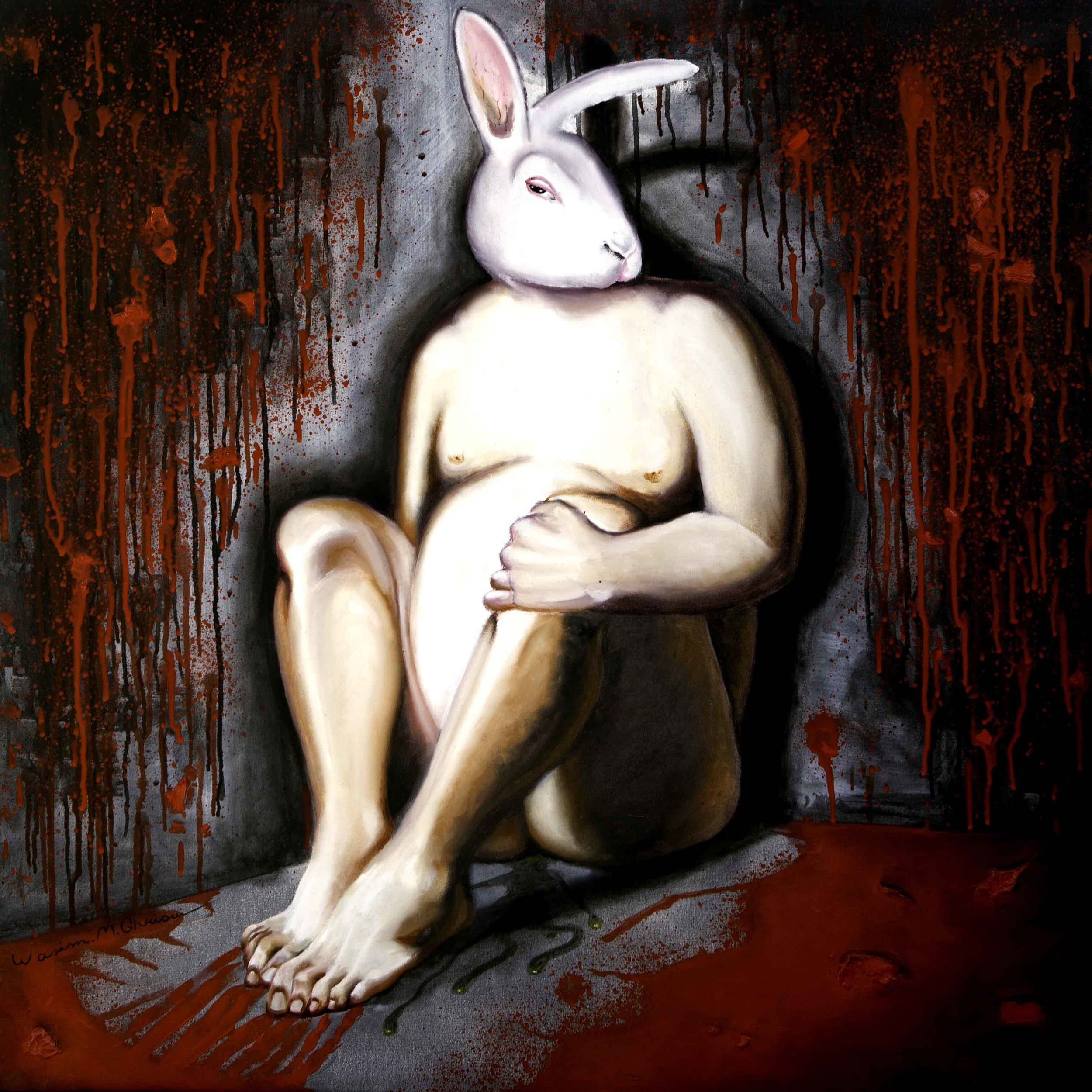 """Rabbit""acrylic & oil on canvas. 1x1 m"