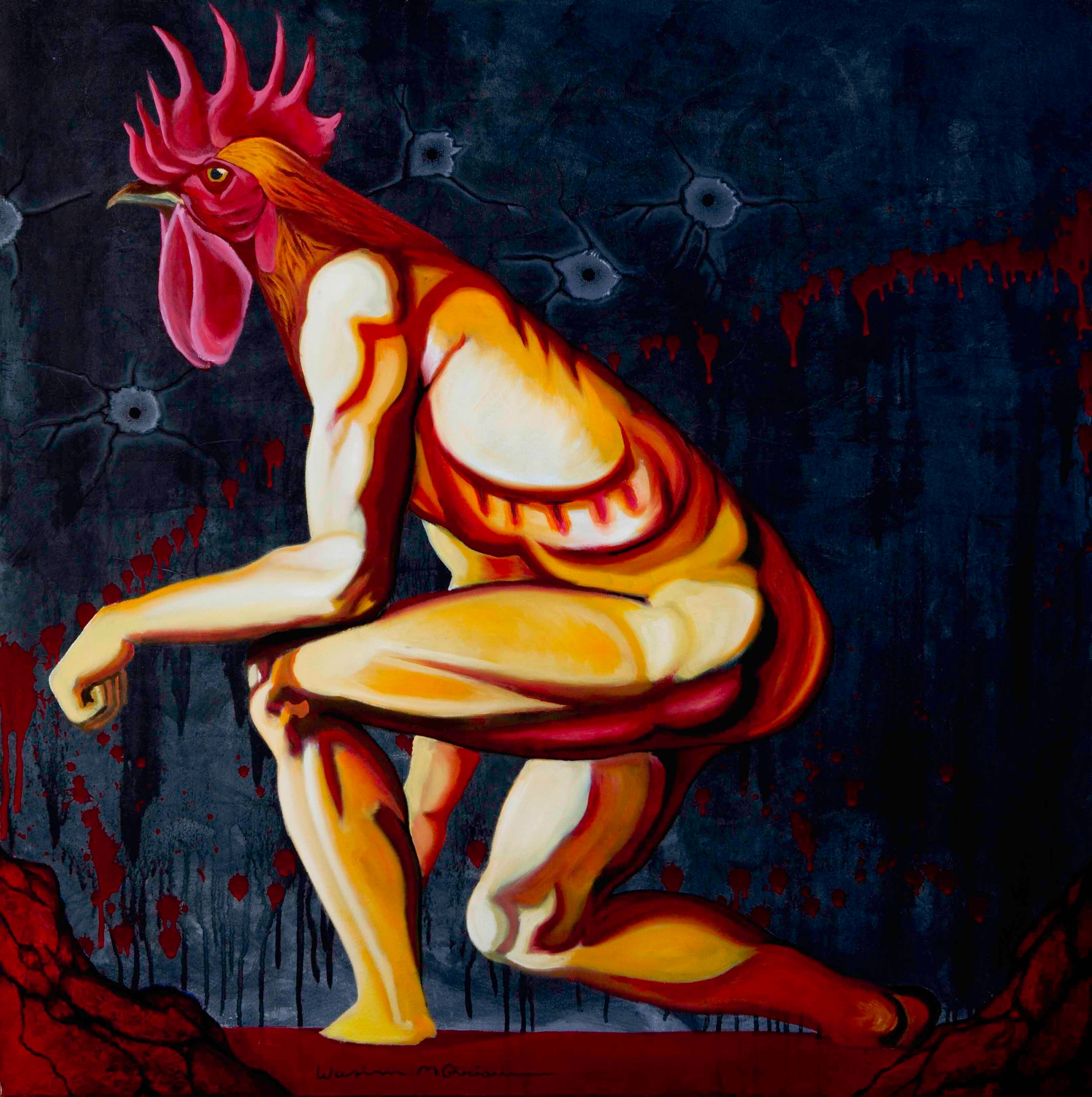 """""""Rooster"""", acrylic & oil on canvas, 1 x 1 m, 2011"""