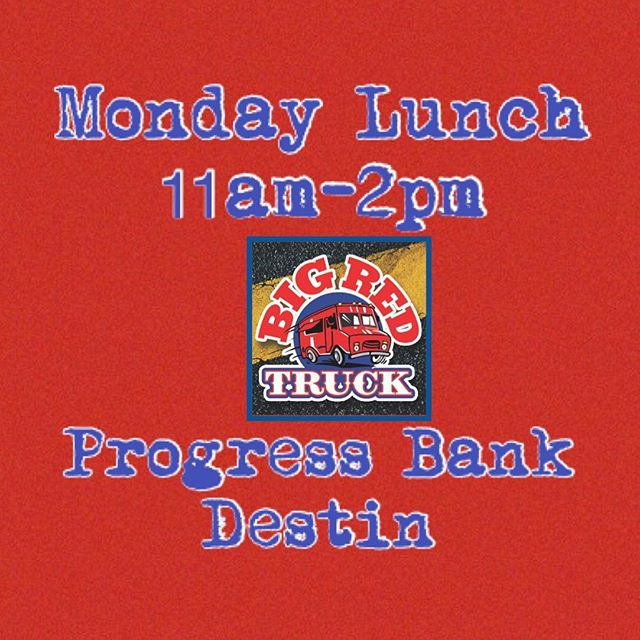 🚩🚩Come see us for Monday lunch in Destin! We'll be at Progress Bank from 11am-2pm with the specials below and more! Call ahead orders welcome 850-737-1715🚩🚩 CHICKEN OR STEAK QUESADILLA COMBO Seasoned and chopped grilled chicken or sirloin steak, grilled and topped with  sautéed bell peppers, onions and melted cheddar cheese. Includes our house made fries or chips & a drink $10  GULF DUO TACO COMBO One of our Fresh Fish Tacos paired with one of our Sweet 'N  Spicy Shrimp Tacos as a Gulf-certified, seafood taco combination. Includes house made Chips or Fries and an ice-cold drink. $12  SMOKED FISH DIP  Our fresh smoked mackerel dip with club crackers and veggies. $8  UNORIGINAL CHICKEN SAMMICH Crispy tender fried chicken with pickles and a drizzle of zesty ranch on a toasty bun. $5 $ Or make it a combo!  https://www.facebook.com/events/316166449304010/?ti=icl